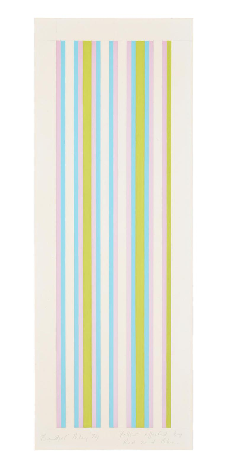 Bridget Riley-Yellow Affected By Red And Blue-1974