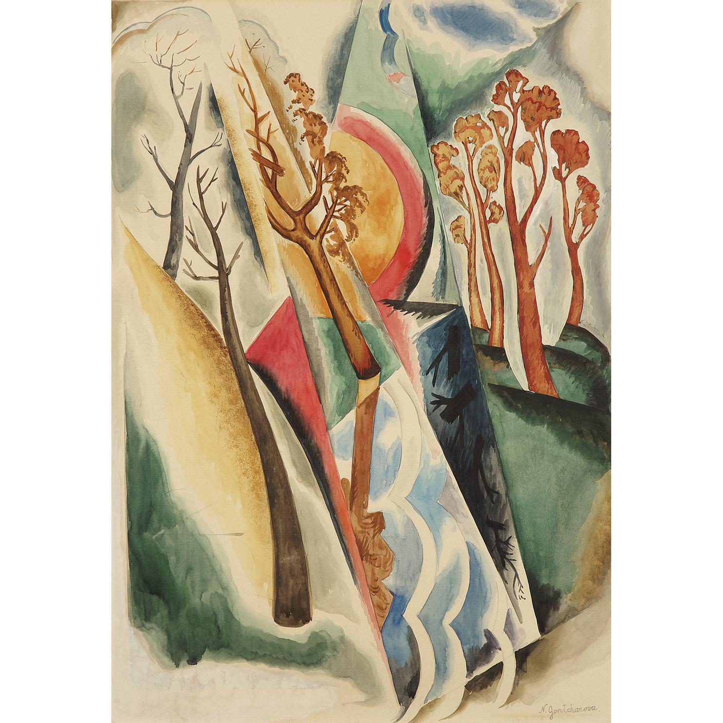 Nathalie Gontcharova - Paysage Aux Grands Arbres-1916