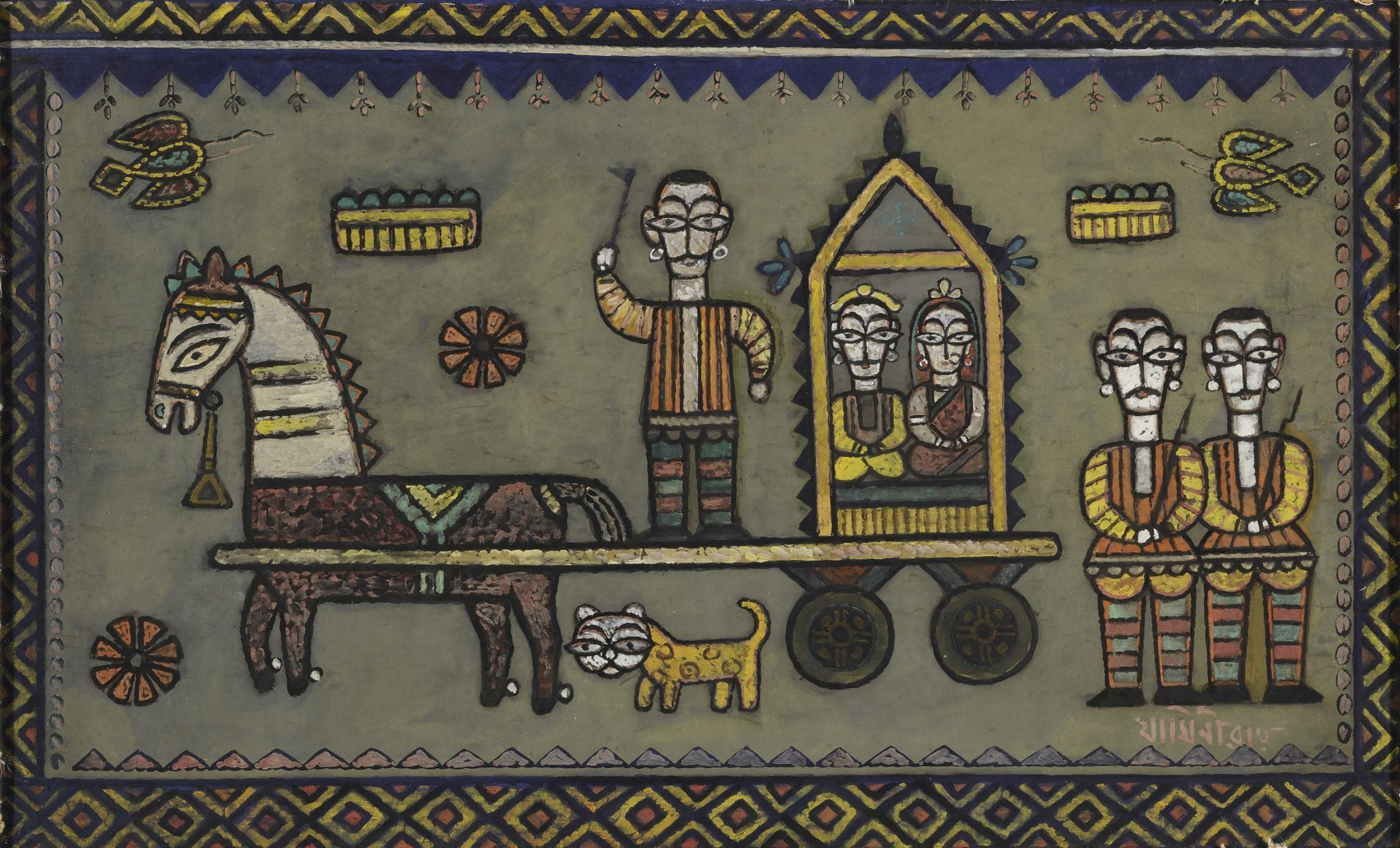 Jamini Roy - Untitled (The Procession)-