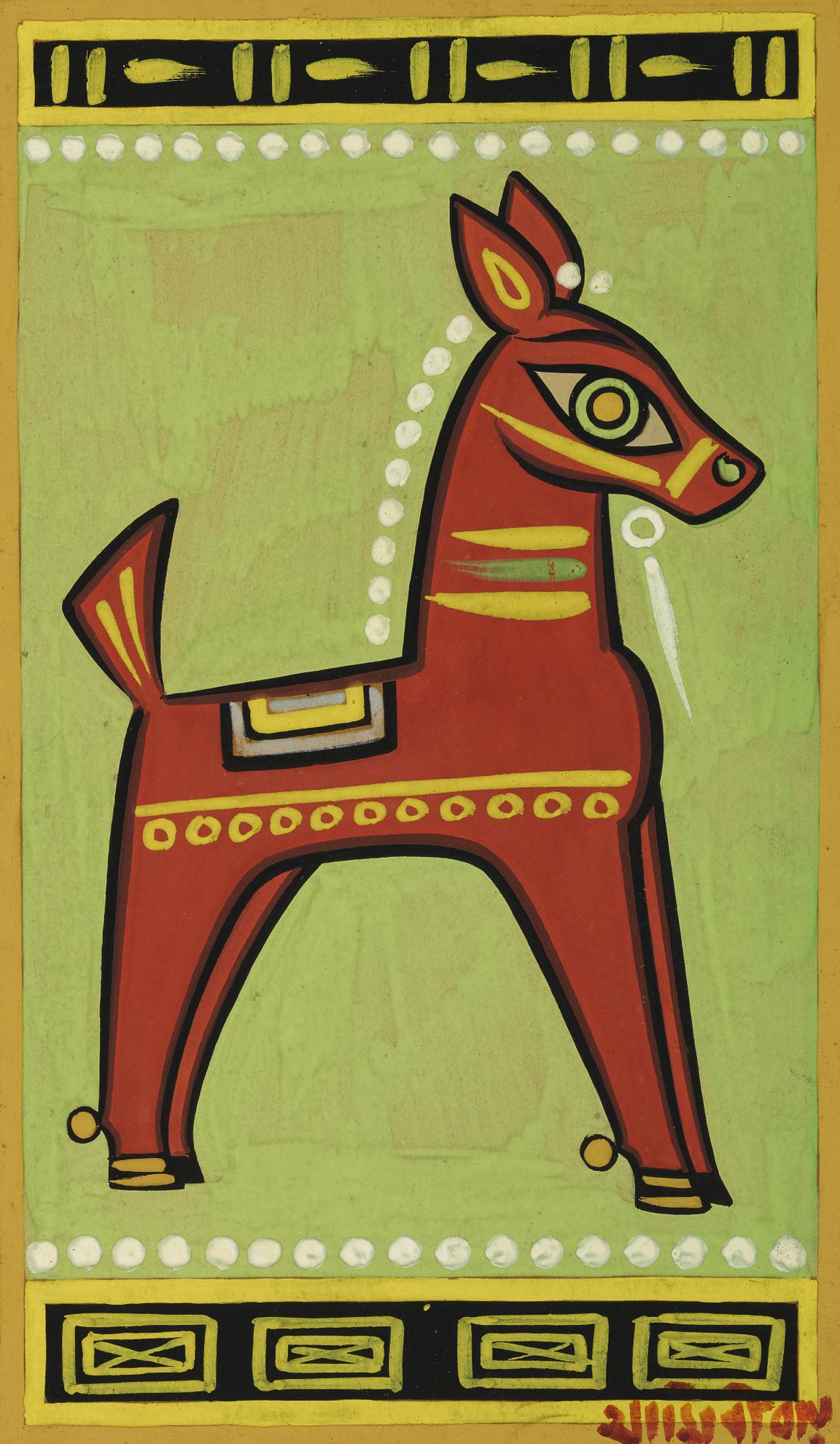 Jamini Roy - Untitled (Red Horse)-