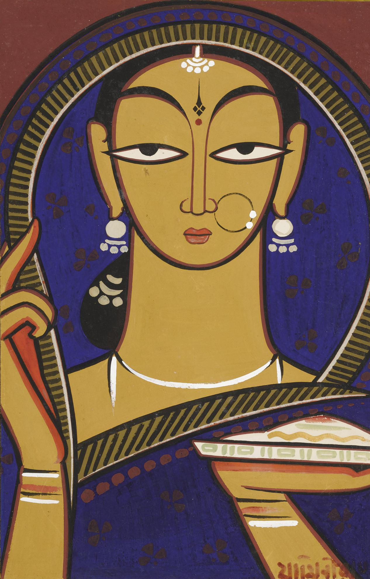 Jamini Roy - Untitled (Maiden)-