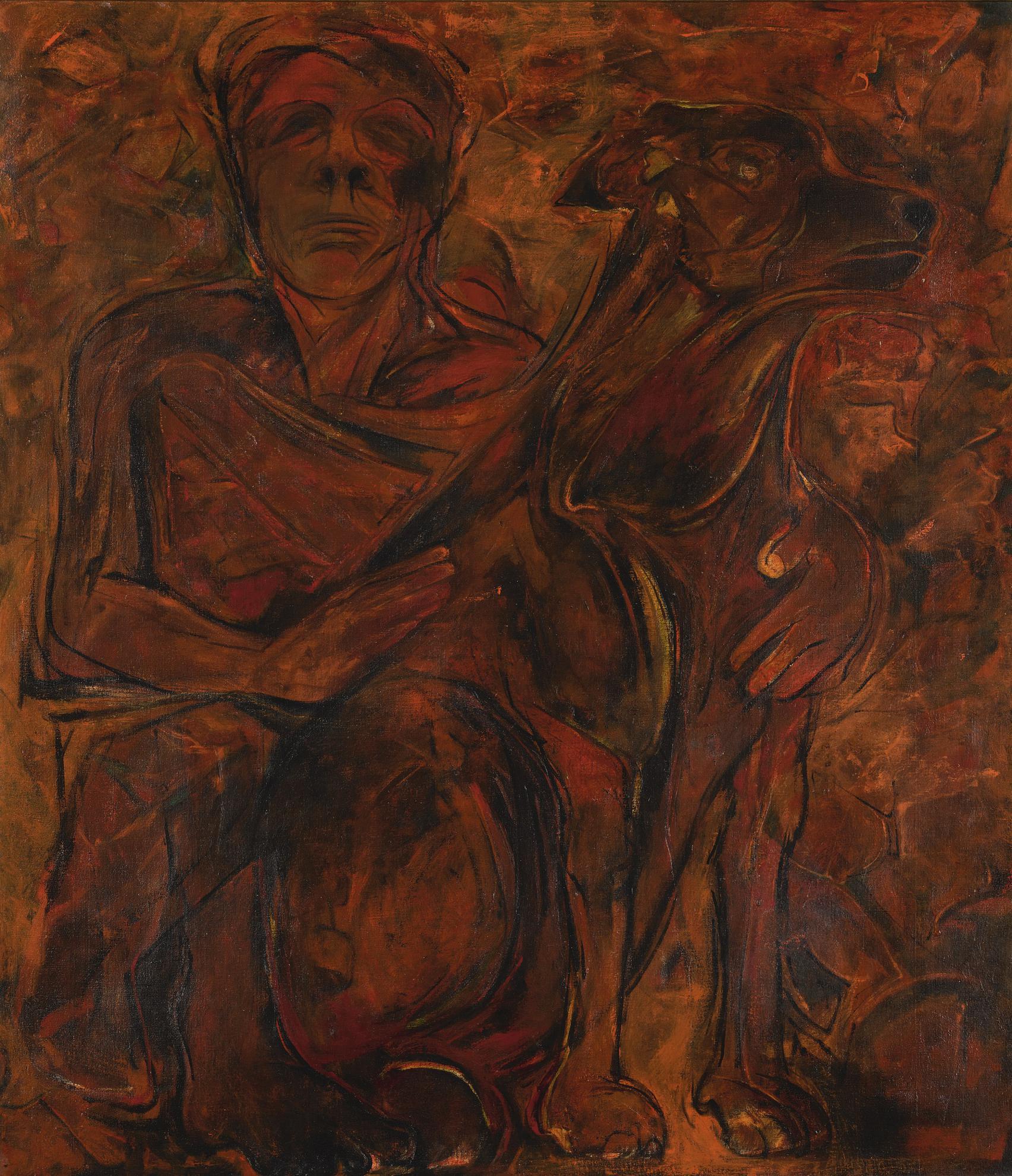 Krishen Khanna-Untitled (Man And Dog)-1970