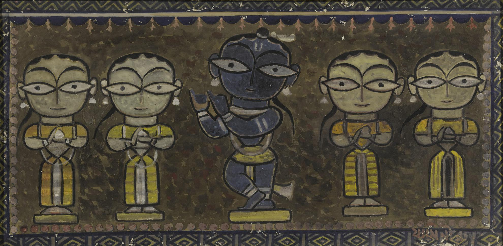 Jamini Roy - Untitled (Krishna With Gopis)-