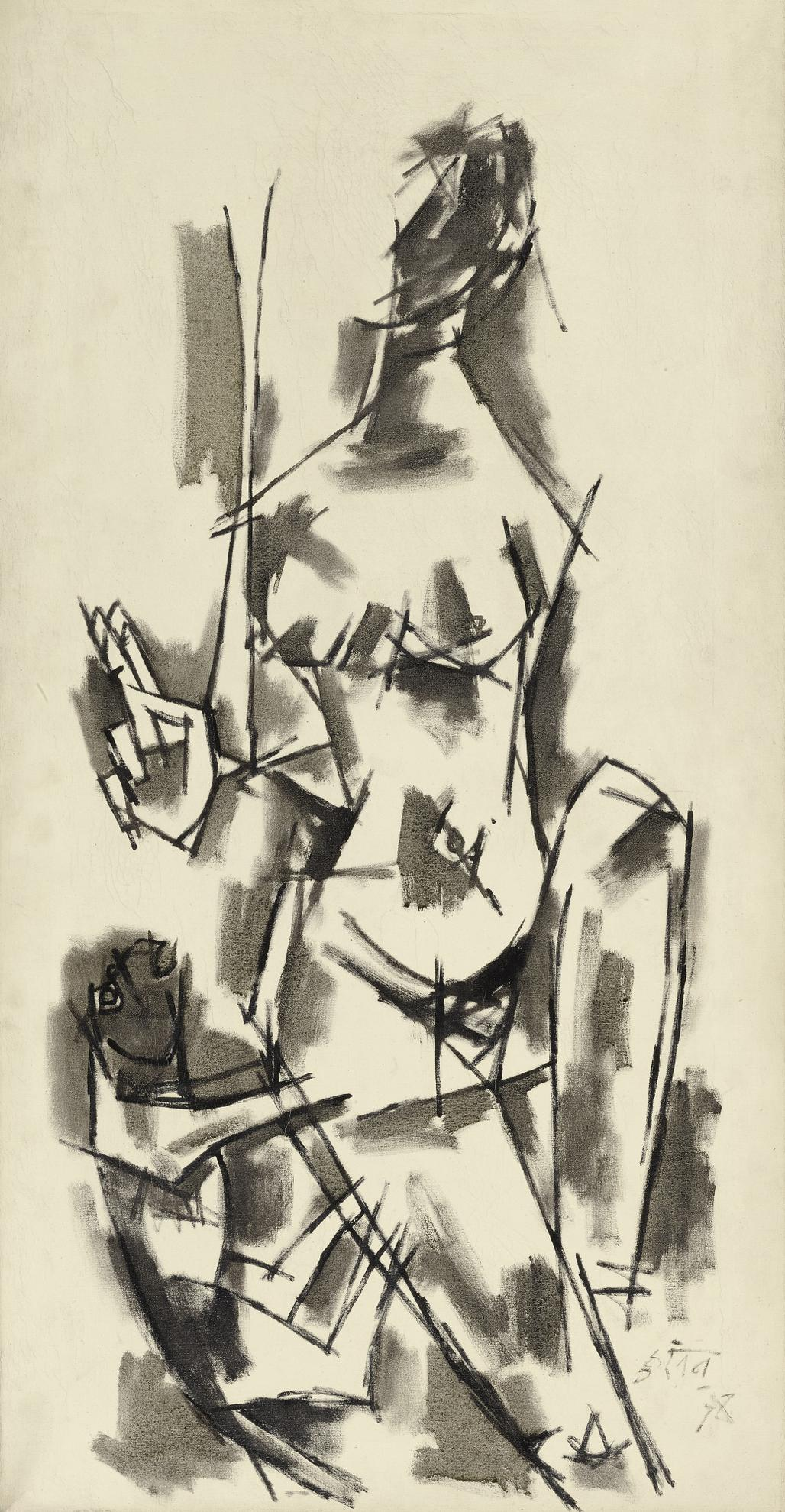 Maqbool Fida Husain-Untitled (Nayika)-1960