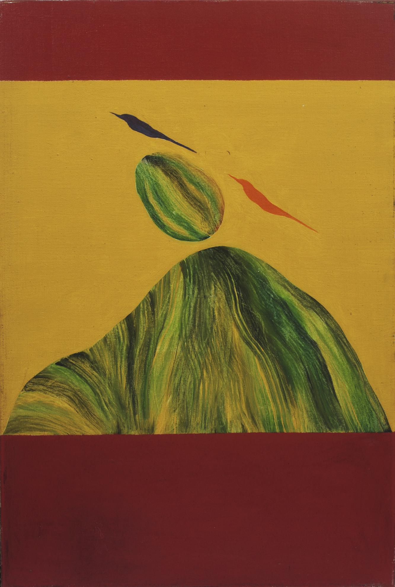 Jagdish Swaminathan - Untitled (Bird And Rock Over Mountain)-1986