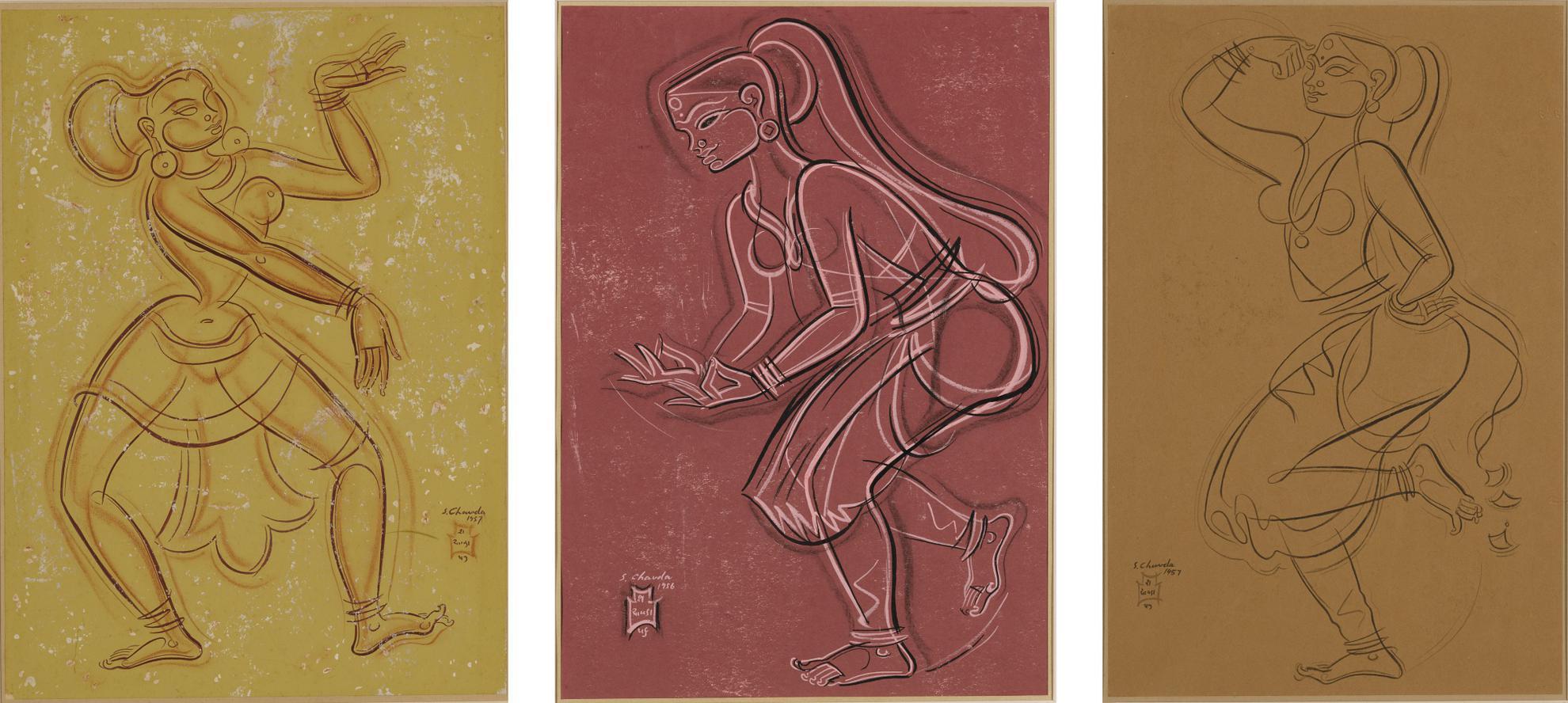 Shiavax Chavda - Untitled (Set Of Three Dancers)-1957