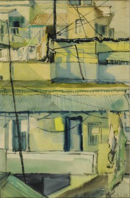 Bikash Bhattacharjee - Untitled (Rooftops)-1963