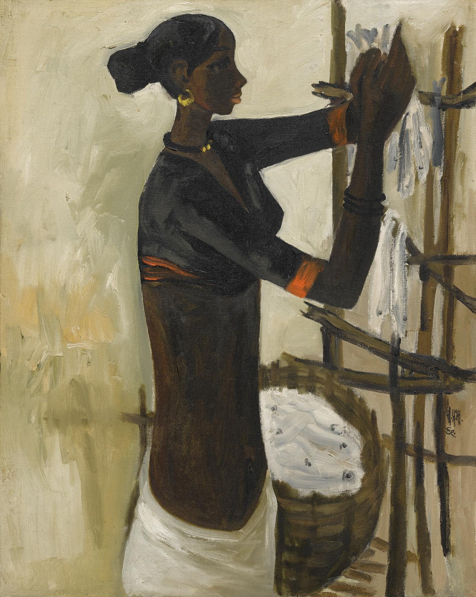 B. Prabha-Untitled (Fisher Woman)-1968