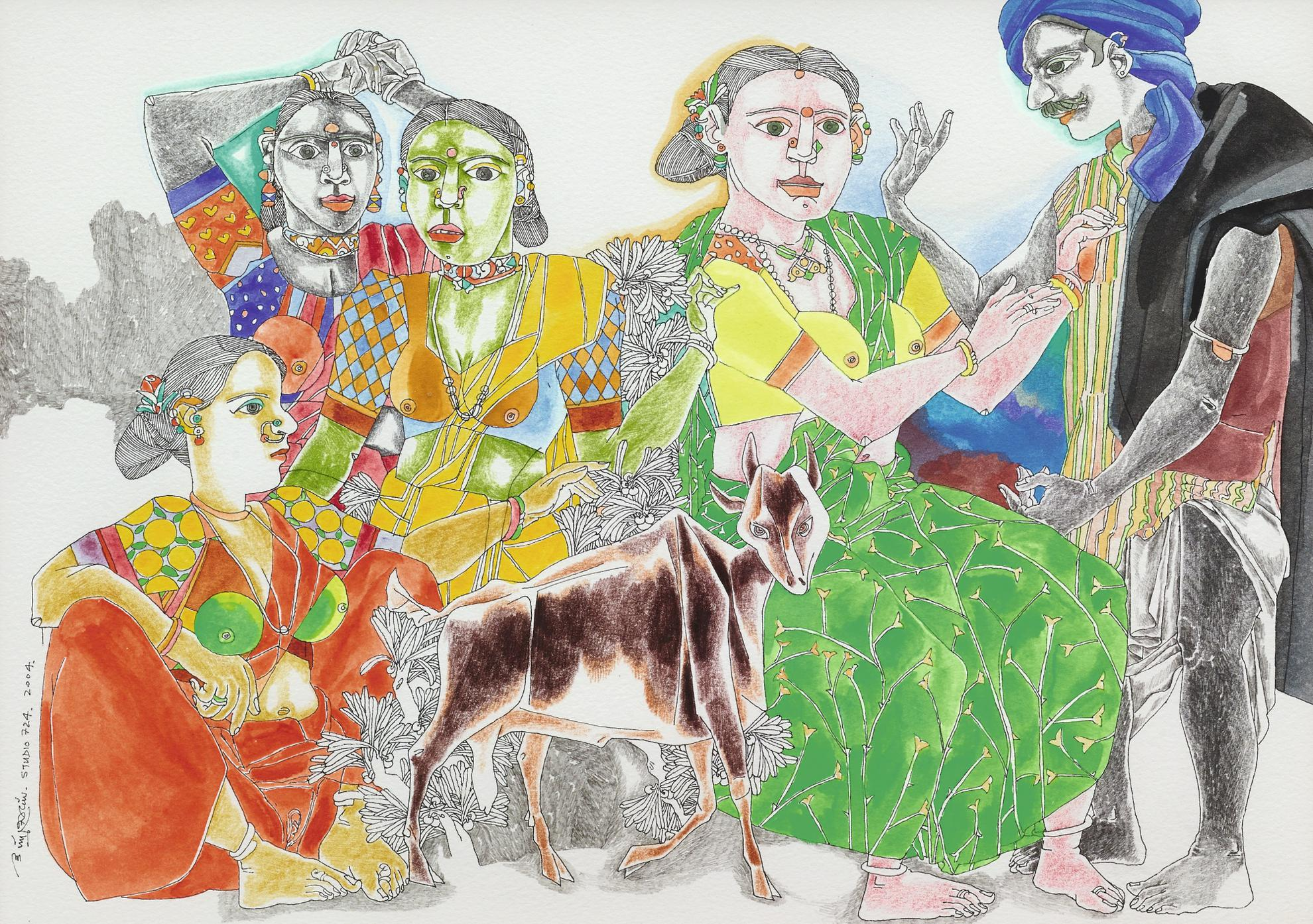 K. Laxma Goud-Untitled (Figures With Goat)-2004