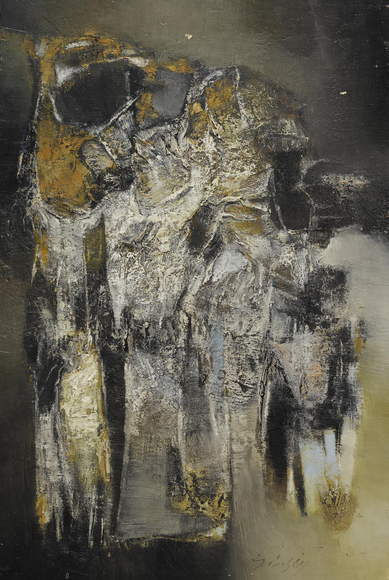 Gulam Rasool Santosh - Untitled (One Winter Night)-1964