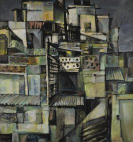 Bikash Bhattacharjee - Untitled (Rooftops)-1964