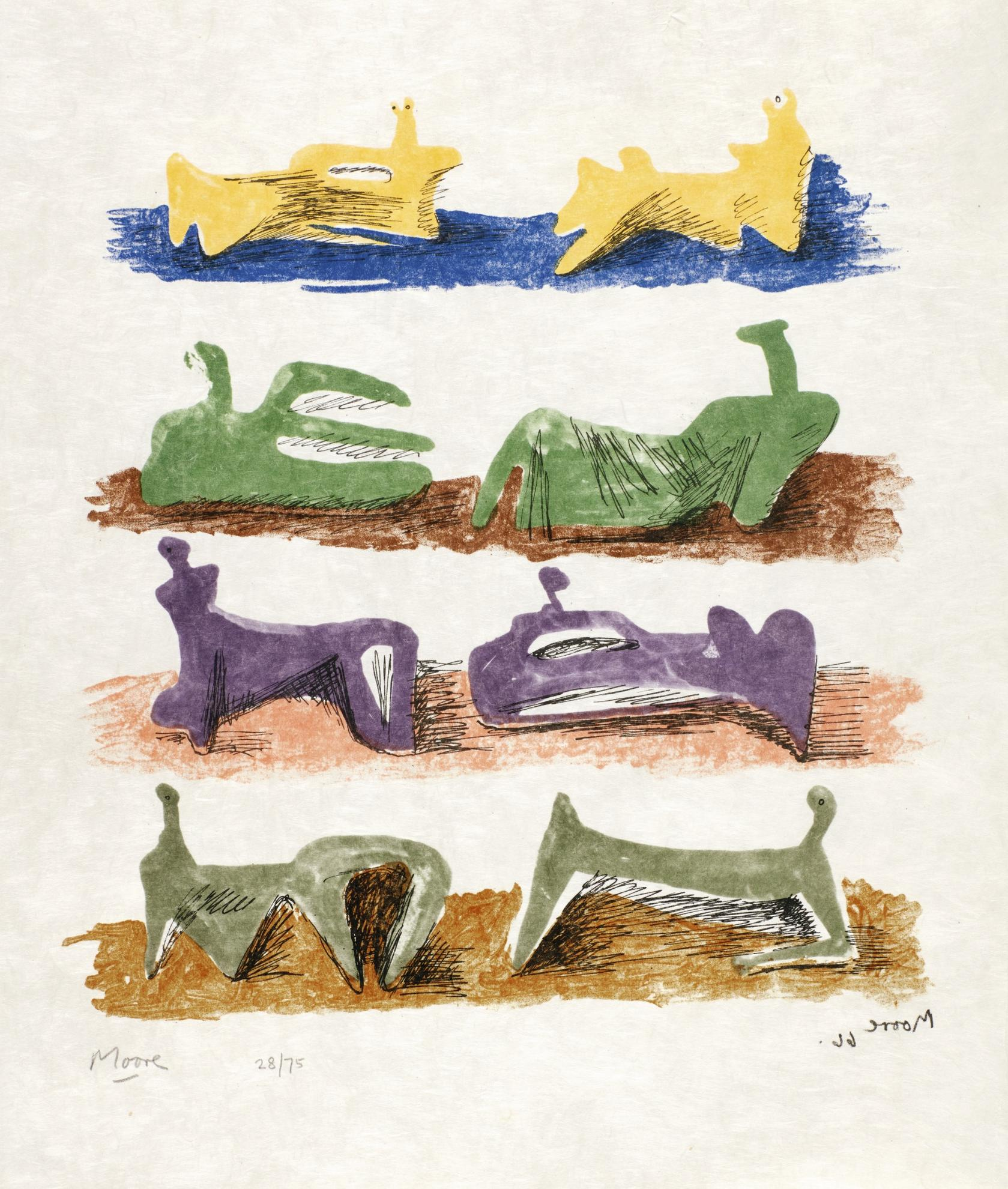 Henry Moore-Eight Reclining Figures (C. 81)-1966