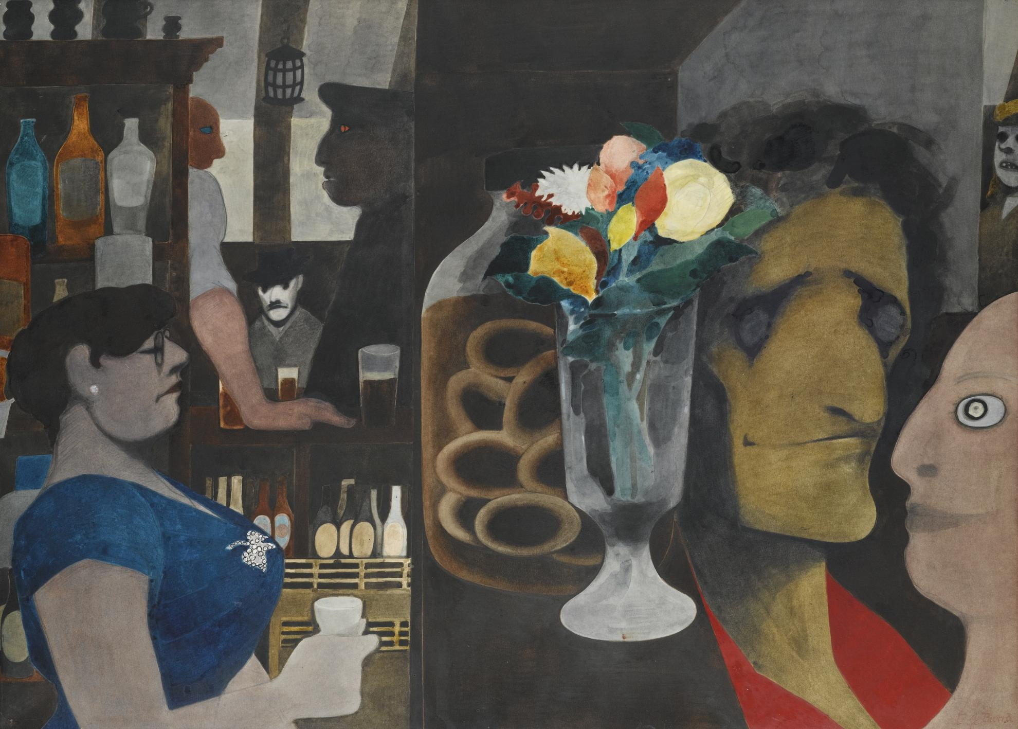 Edward Burra-Flowers In A Bar-1954