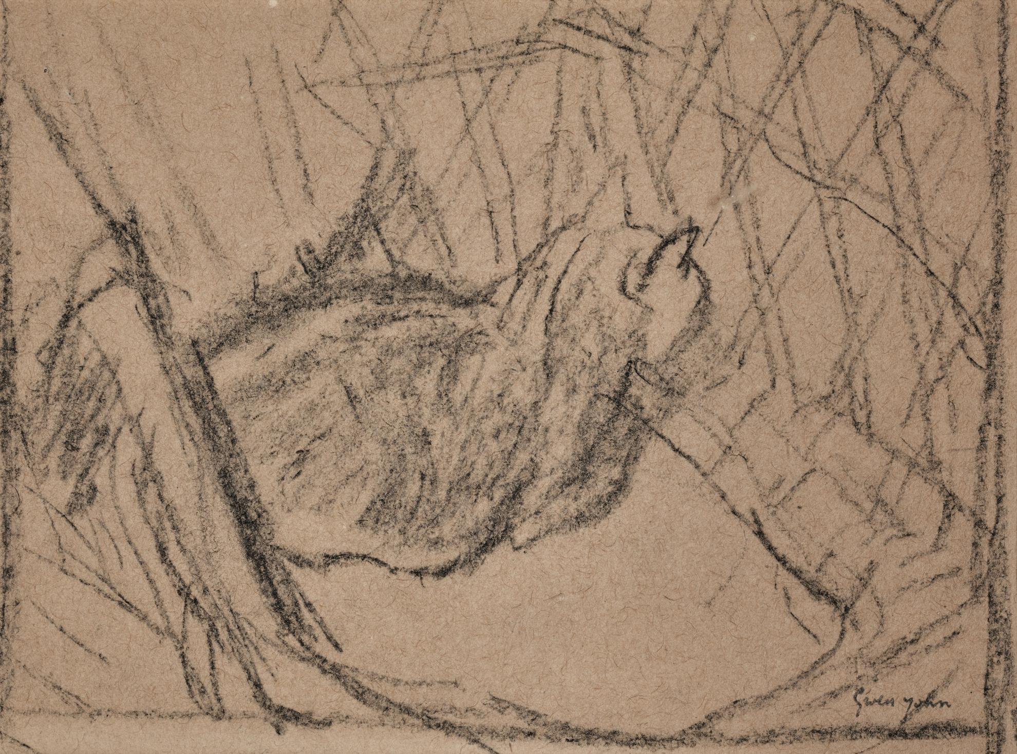 Gwen John-Black Cat Seen From The Side, Seated In Wicker Chair-