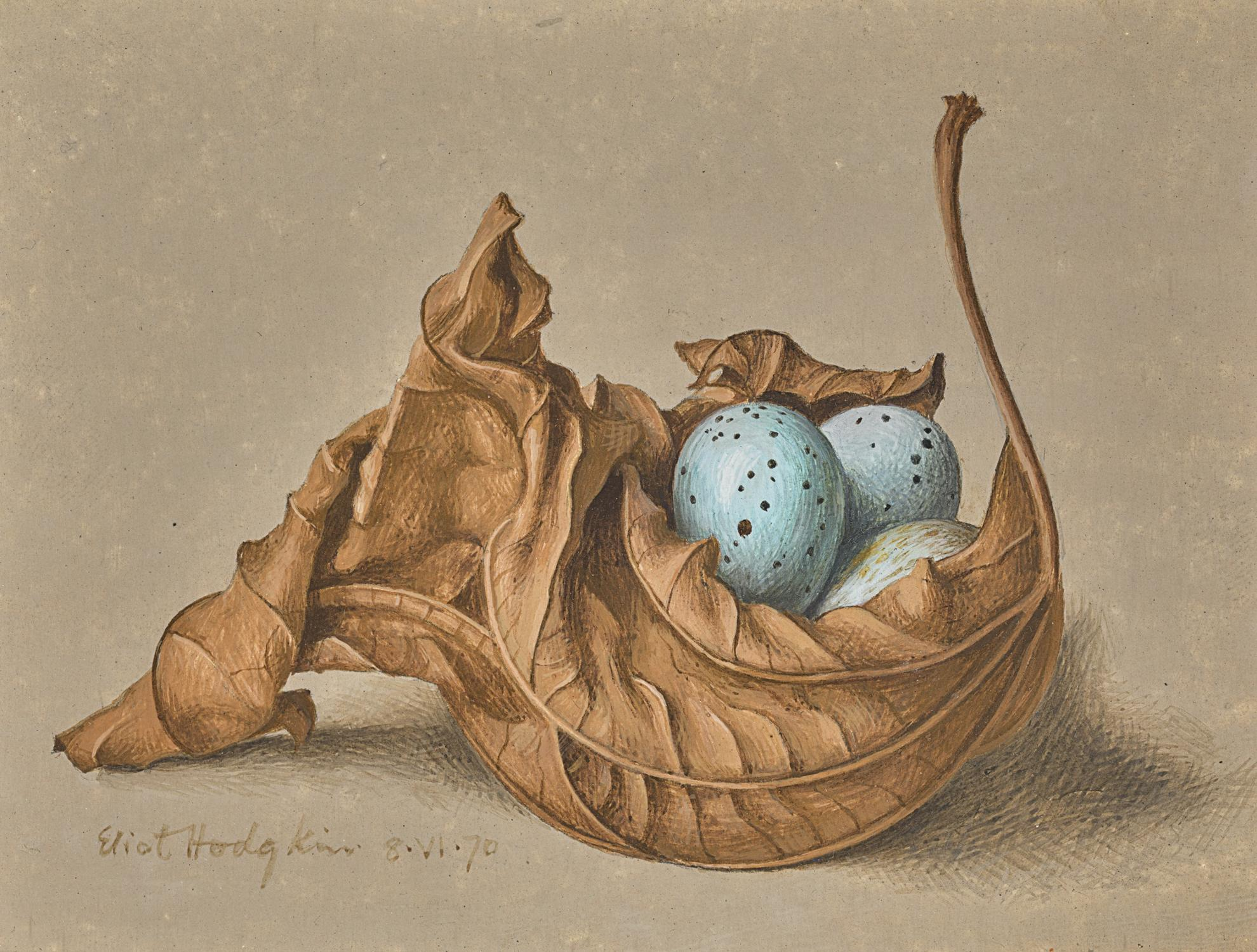 Eliot Hodgkin-Dead Leaf And Three Eggs-1970