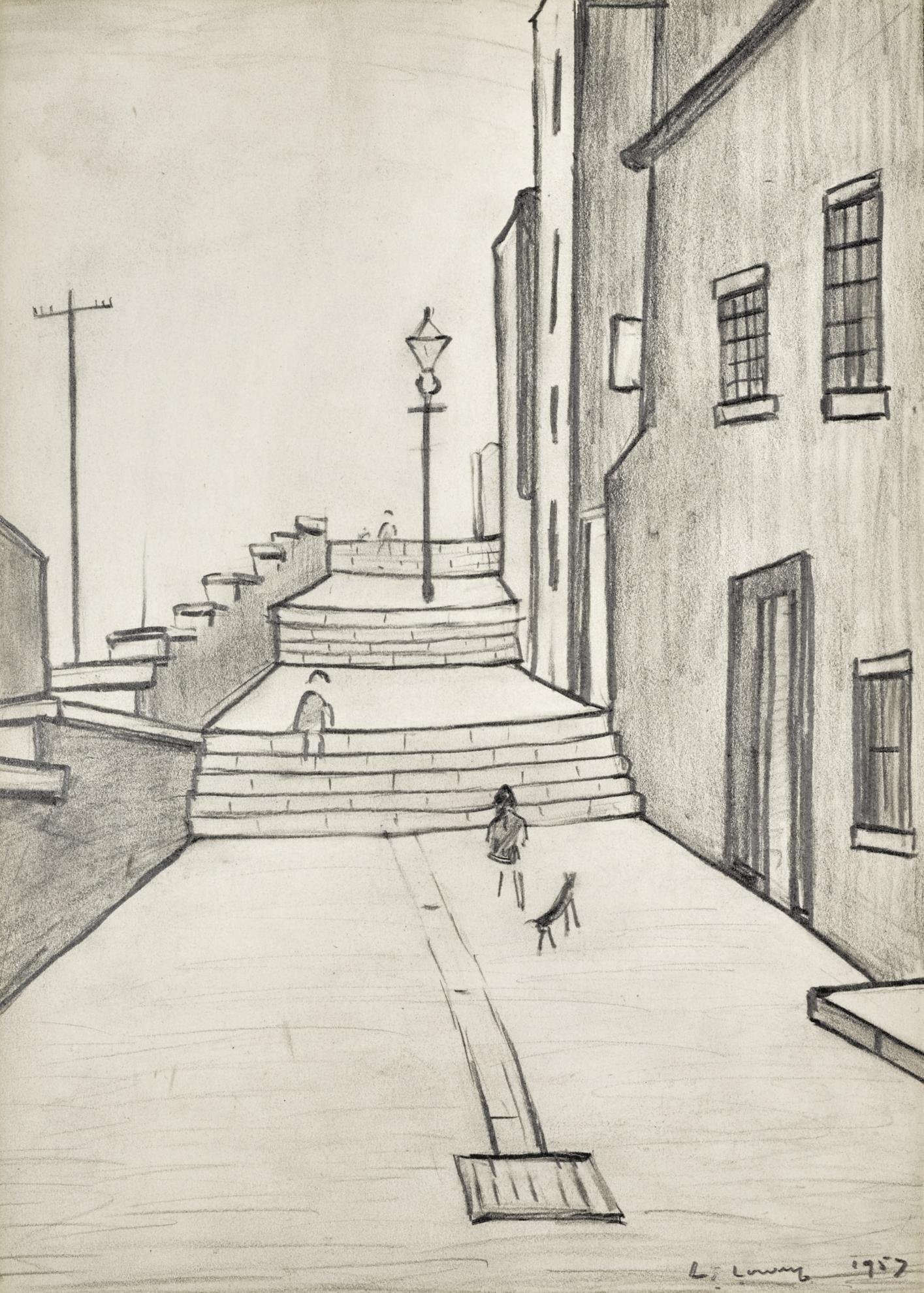 Laurence Stephen Lowry-The Steps-1957