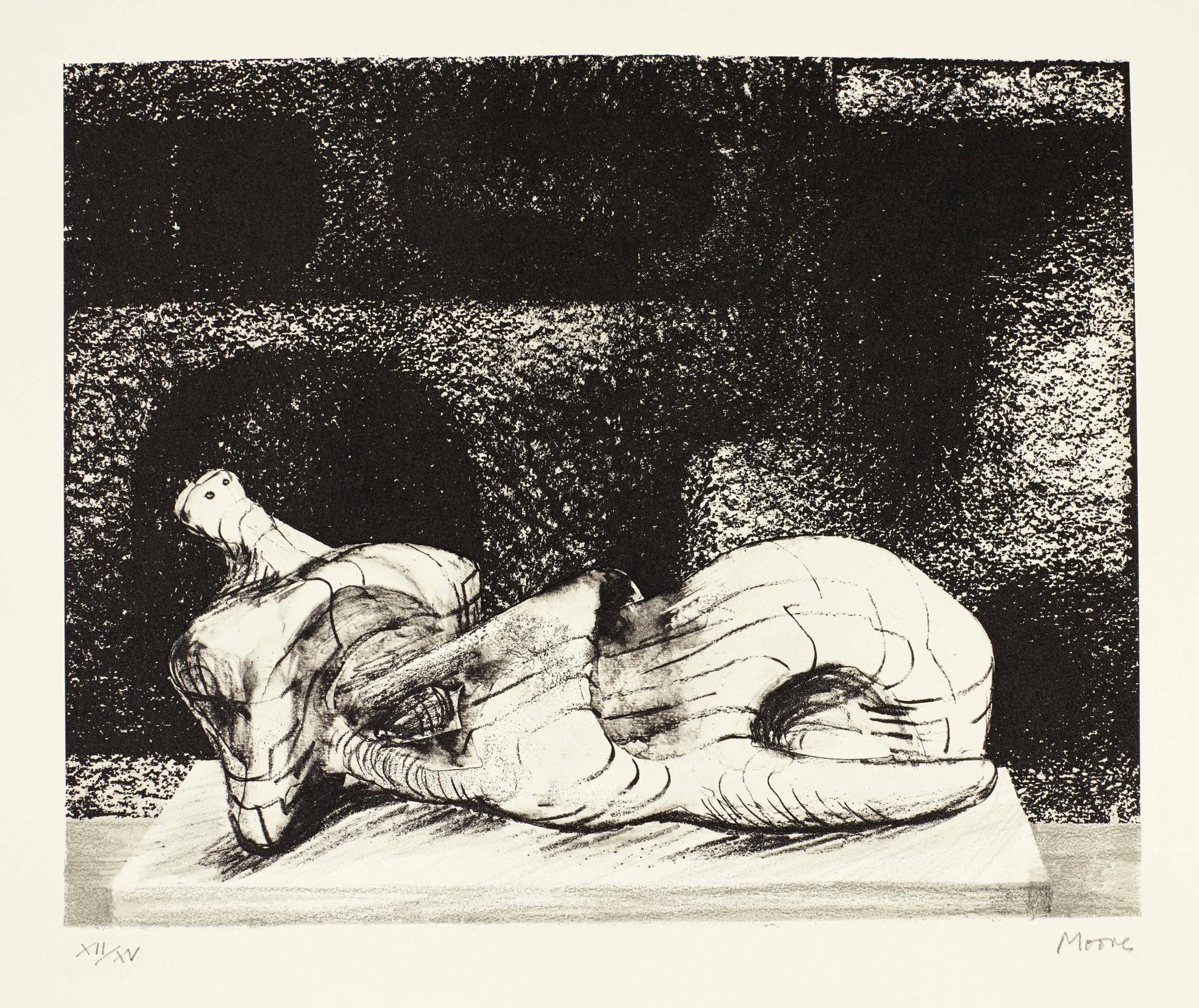 Henry Moore-Reclining Figure Architectural Background III (C. 456)-1977