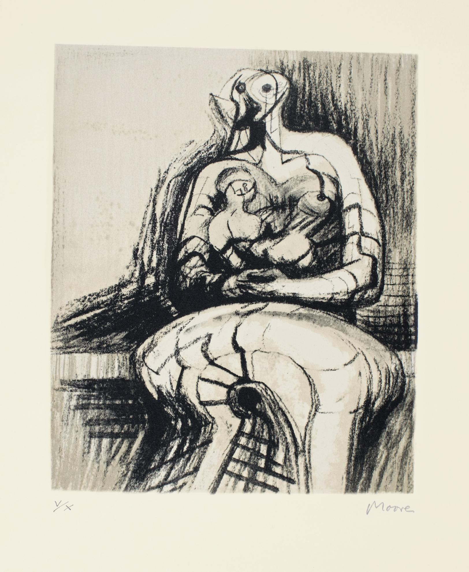 Henry Moore-Seated Mother And Child (C. 437)-1976