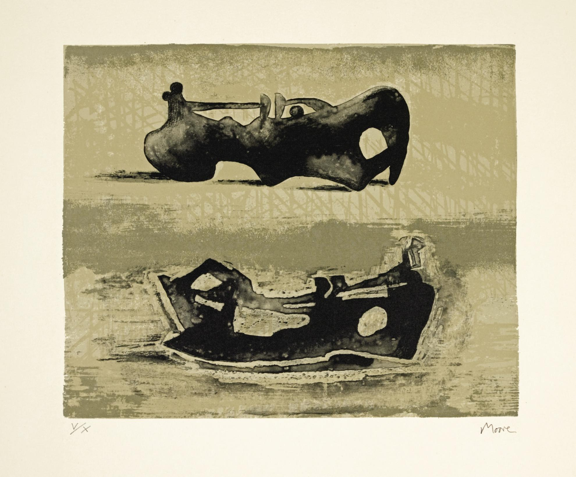 Henry Moore-Two Reclining Figures (C. 440)-1976