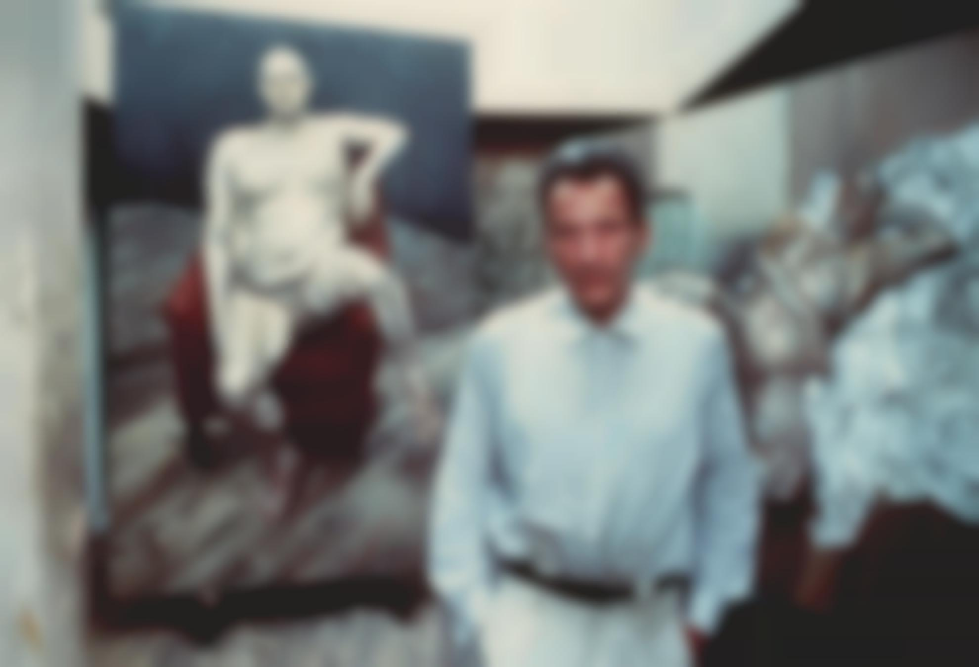 Bruce Bernard-Lucian Freud In His Studio With Two Paintings Of Leigh Bowery-1990