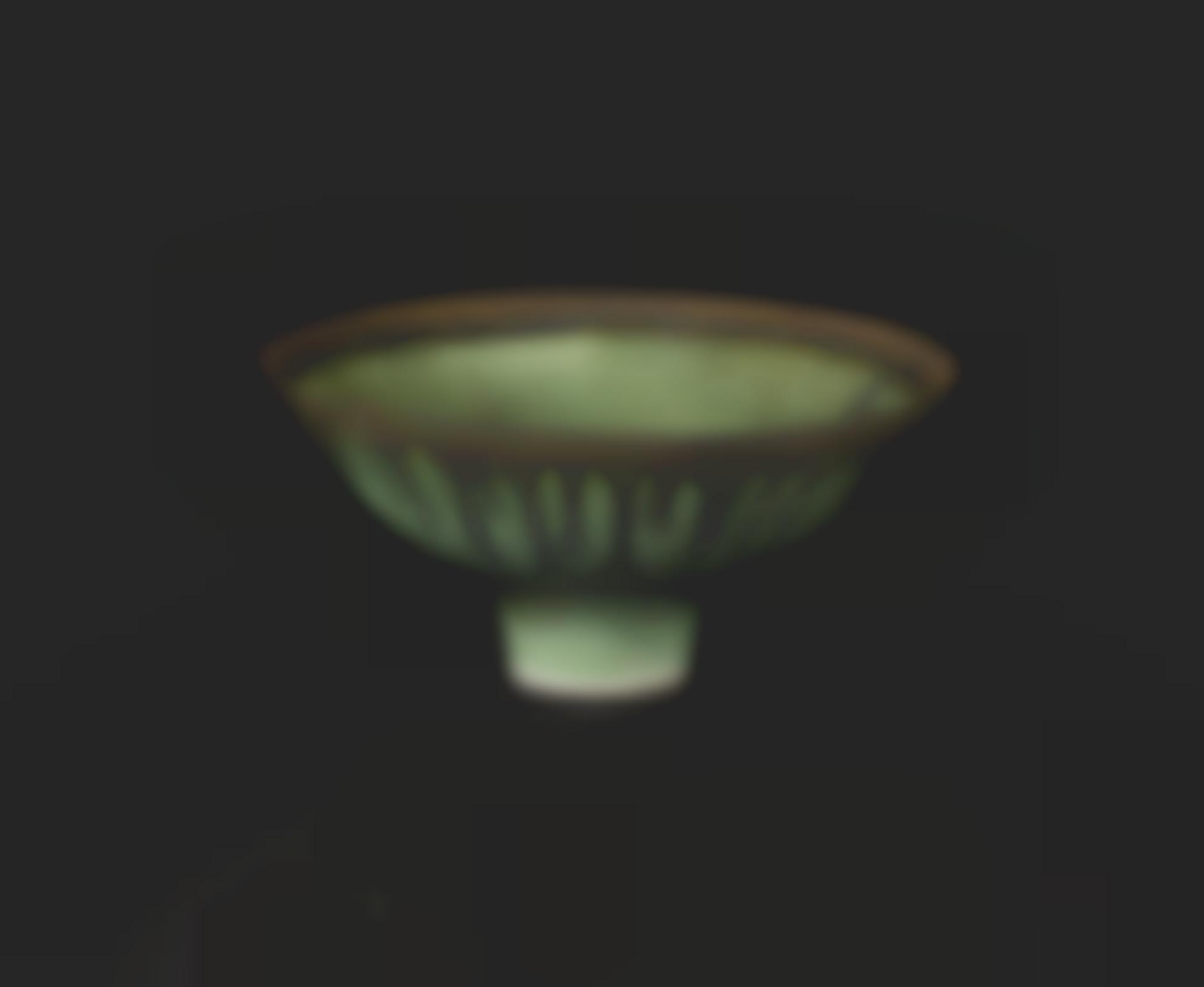 Dame Lucie Rie - Emerald Green Bowl With Bronzed Rim-1987