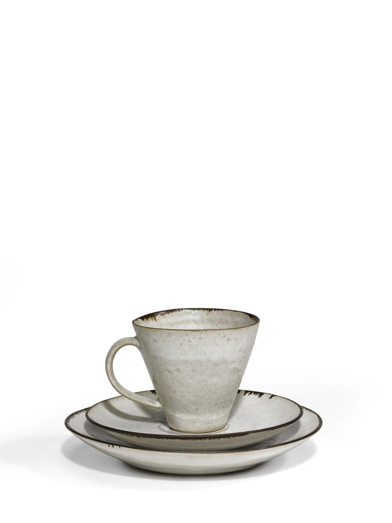 Dame Lucie Rie & Hans Coper - Set Of 9 Teacups, Saucers And Side Plates-1950