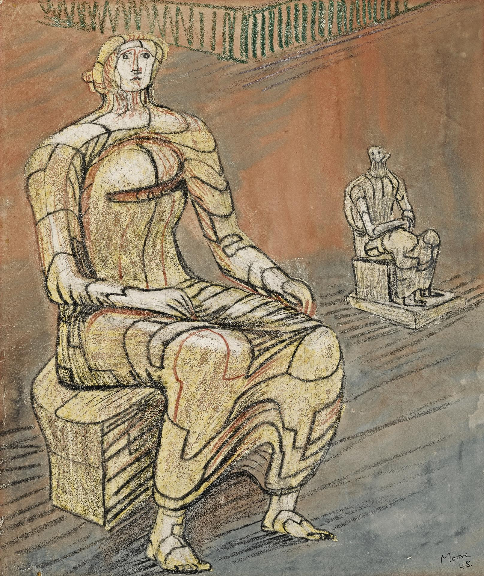 Henry Moore-Seated Woman With Seated Figure In Background-1948