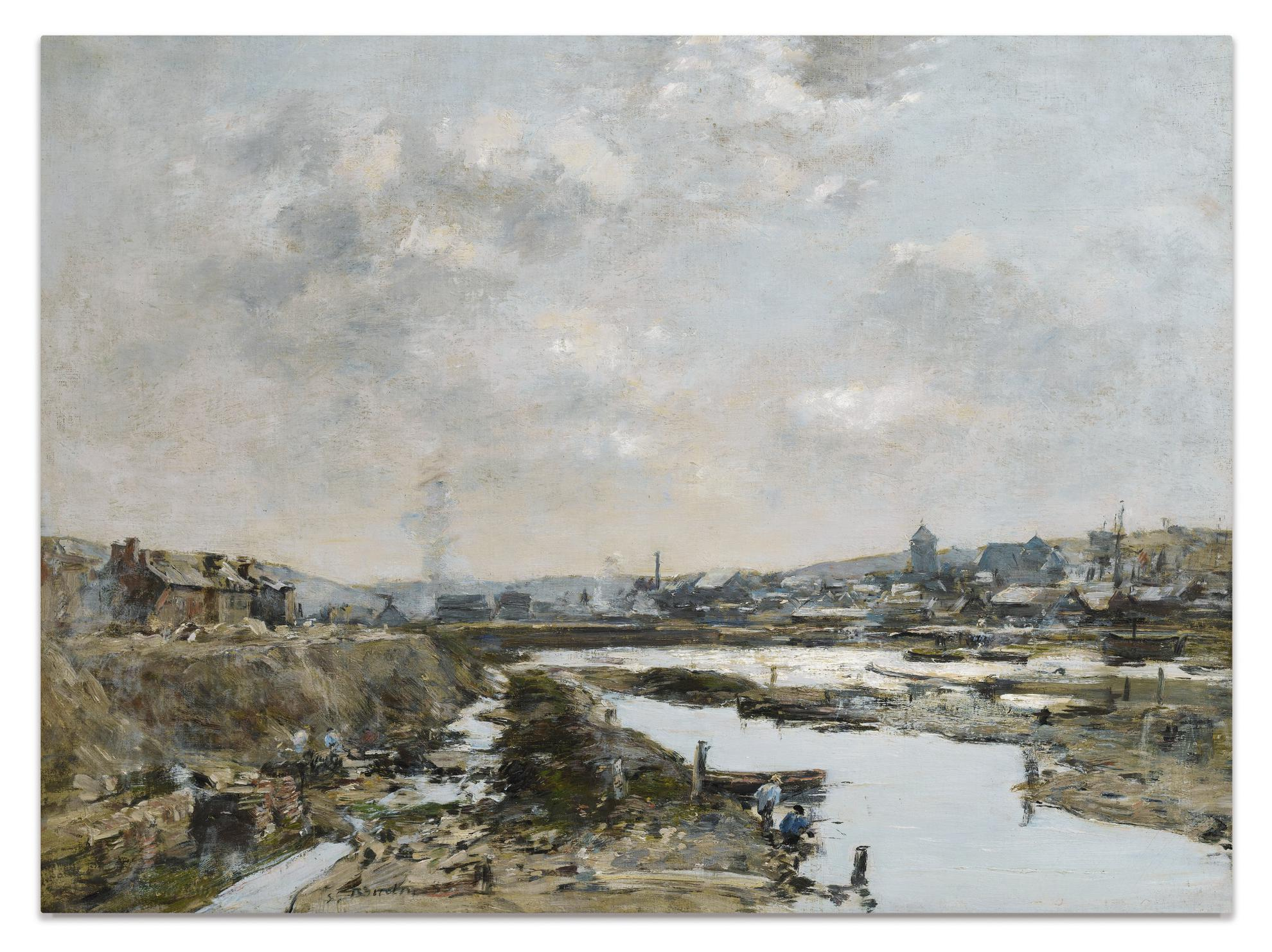 Eugene Louis Boudin-Fecamp. Larriere-Port En Construction-1883