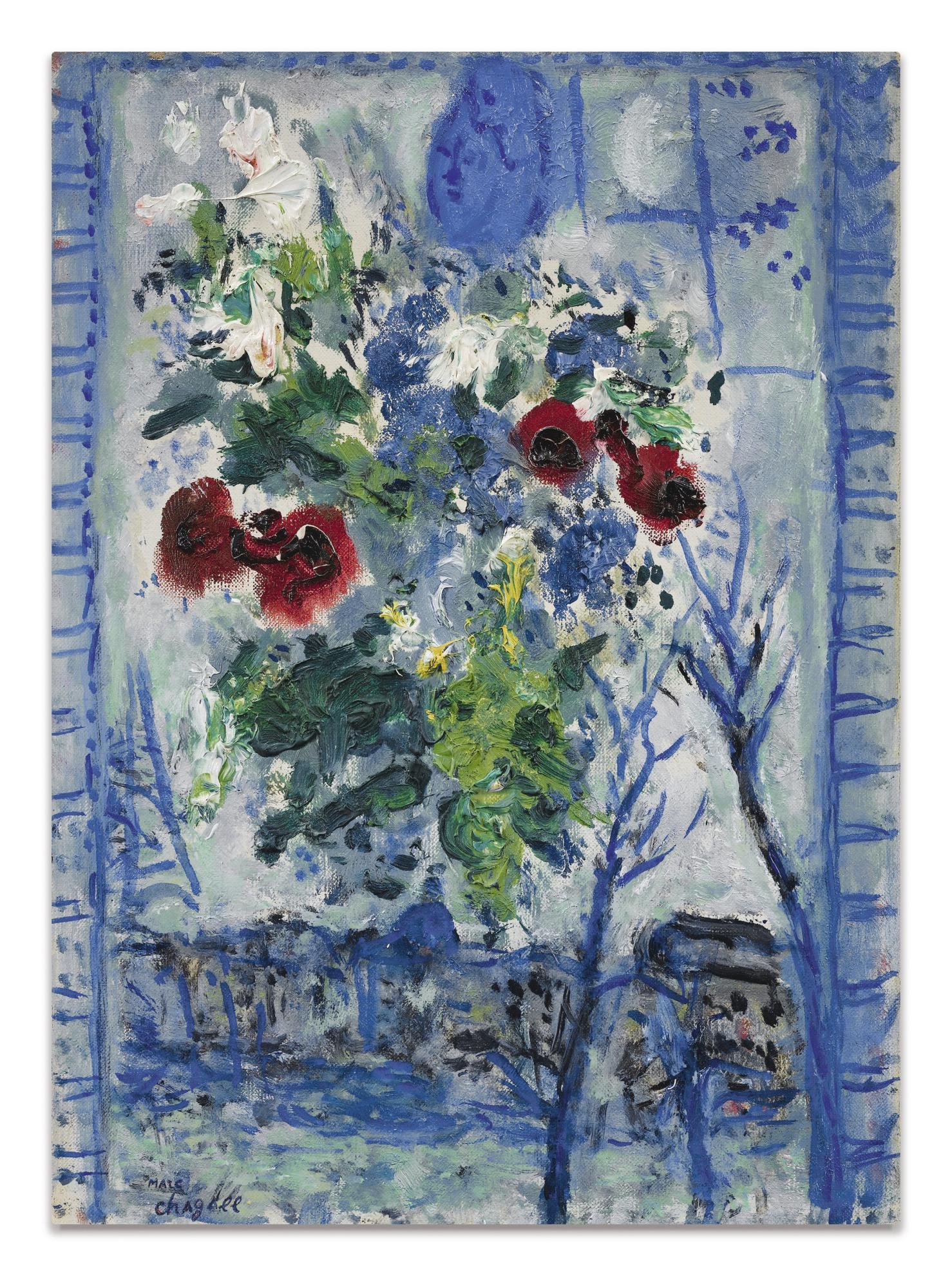 Marc Chagall-Fleurs A La Fenetre-1959
