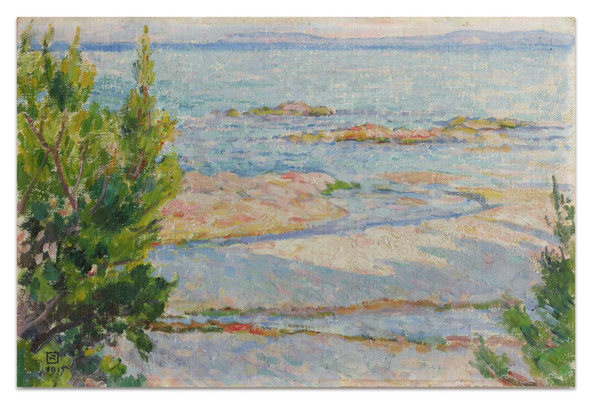 Theo van Rysselberghe-St Clair, La Plage (Etude Pour Apres Le Bain)-1917
