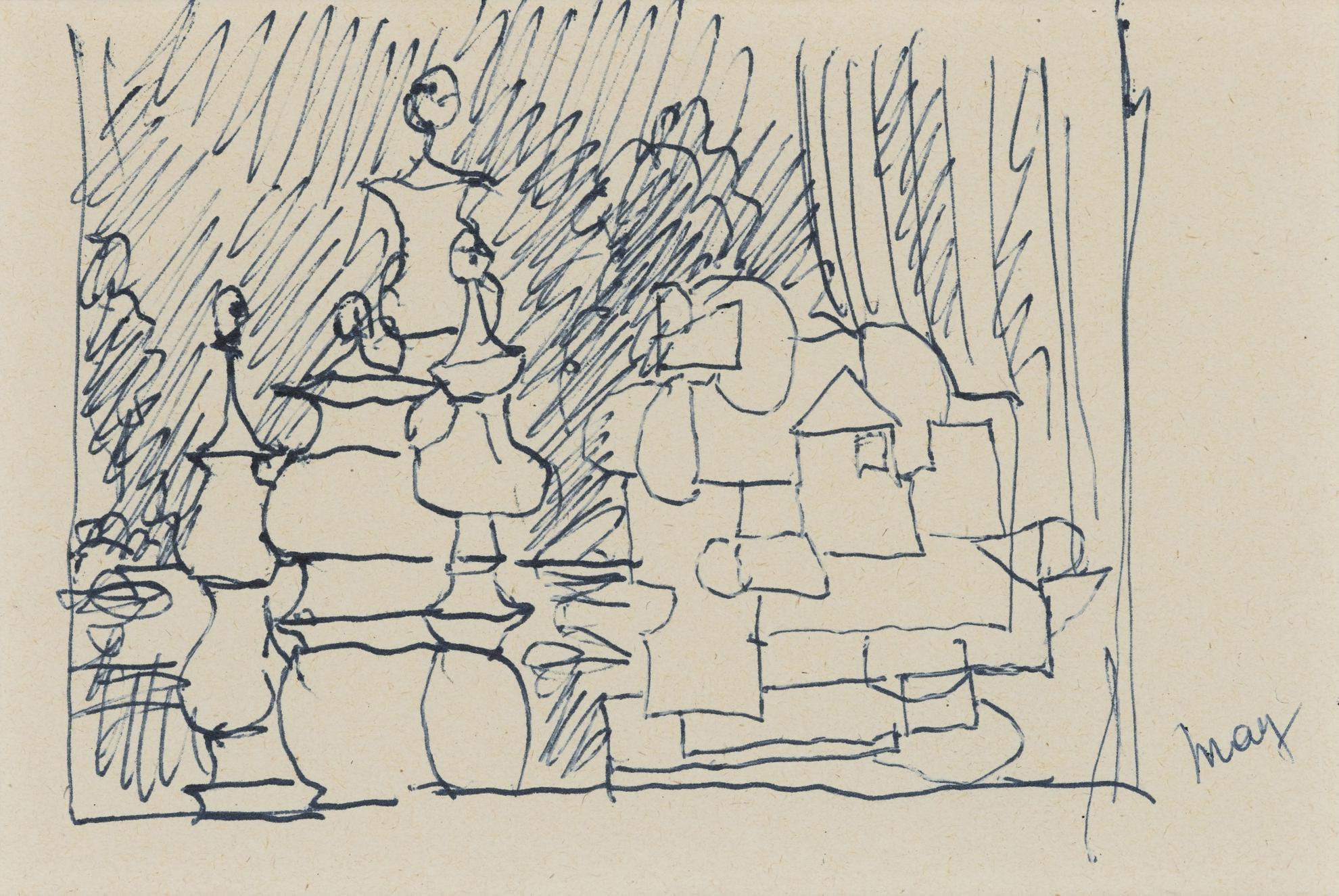 Rene Magritte-Composition Au Bilboquet-1950