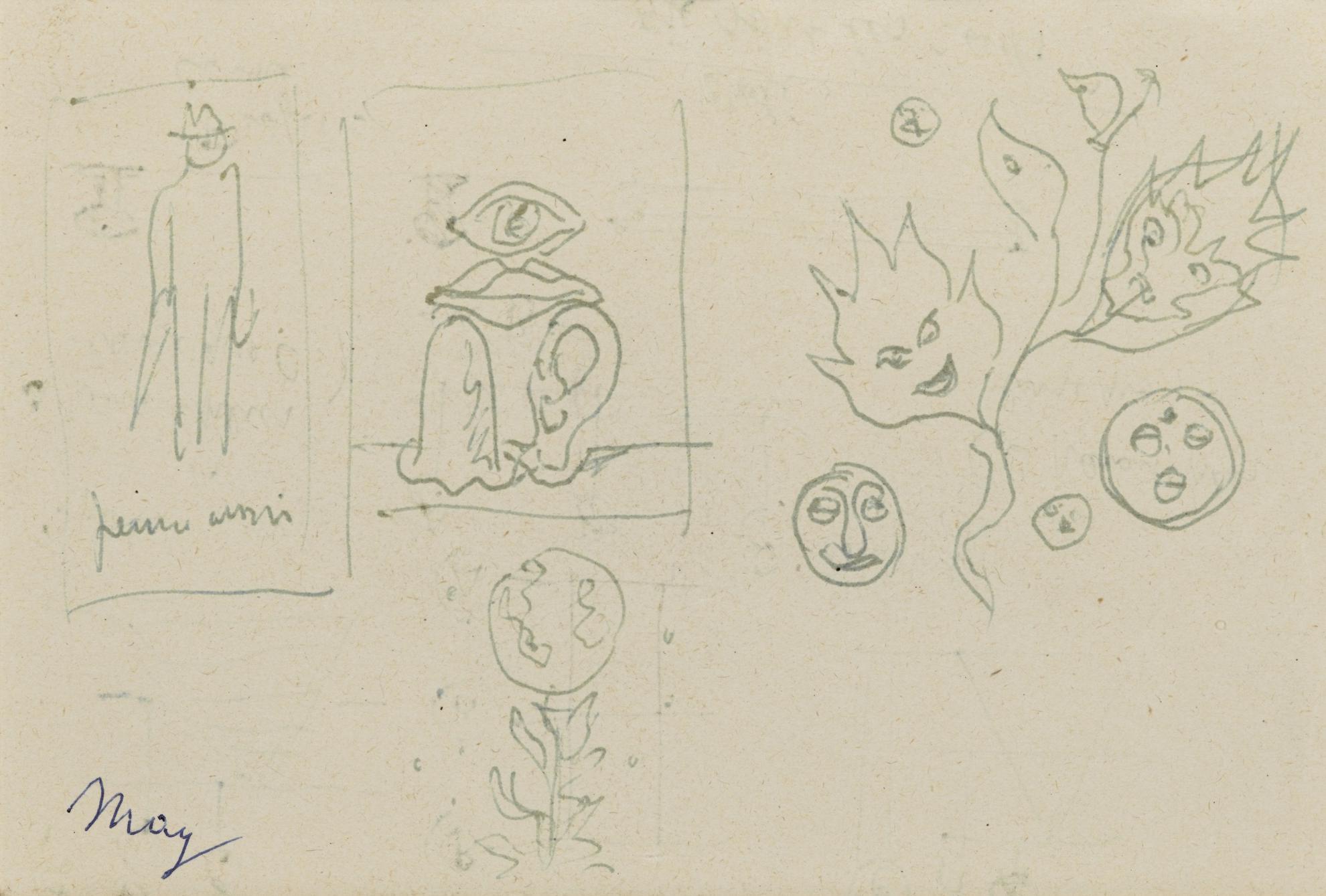 Rene Magritte-Composition Aux Feuilles Souriantes... (Recto - Verso)-1950