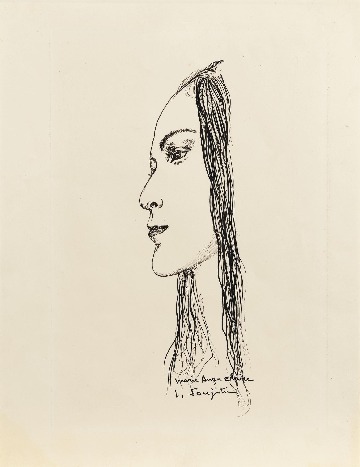 Tsuguharu Foujita-Marie Ange Claire, Profil De Kimiyo Foujita-1960