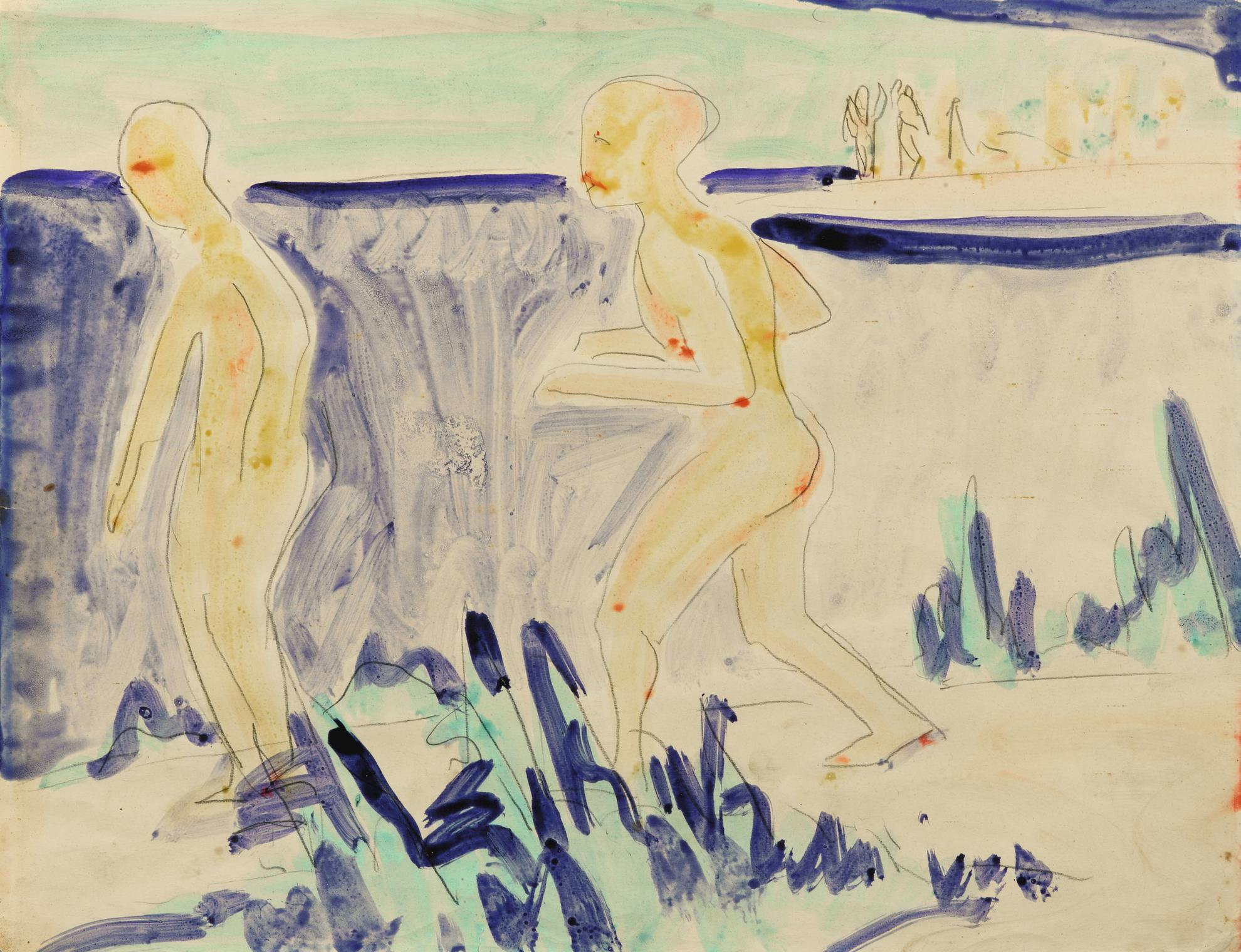 Ernst Ludwig Kirchner-Zwei Badende An Den Moritzburger Teichen (Two Bathers At The Moritzburger Ponds)-1910