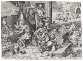 After Pieter Bruegel The Elder - The Alchemist (Bastelaer, Hollstein 197; New Hollstein 40)-1558