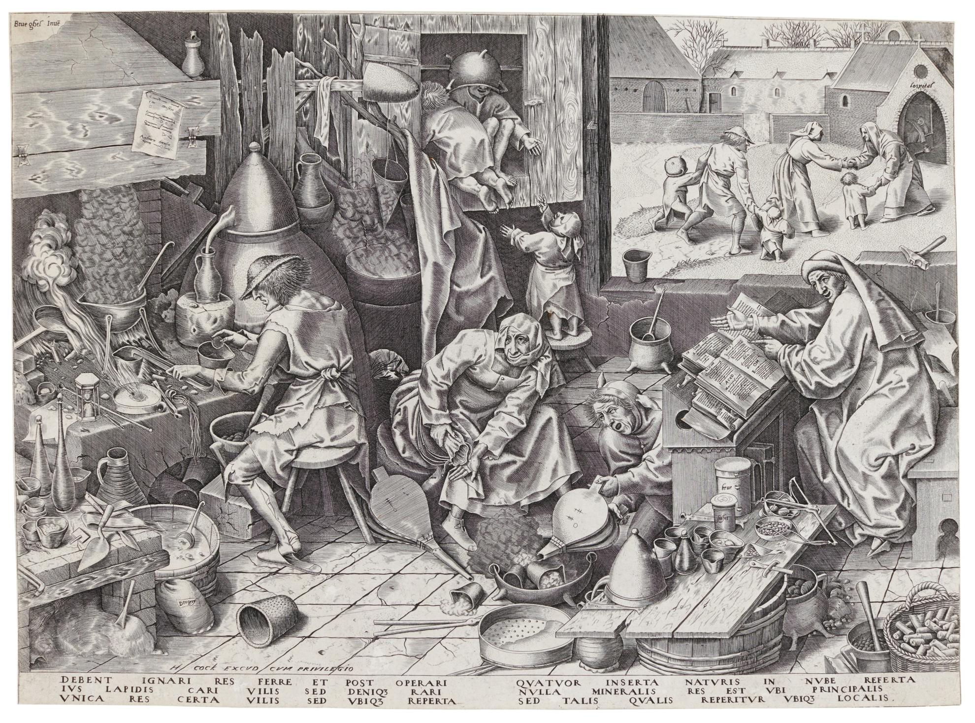 After Pieter Bruegel The Elder - The Alchemist (Bastelaer, Hollstein 197; New Hollstein 40)-1558