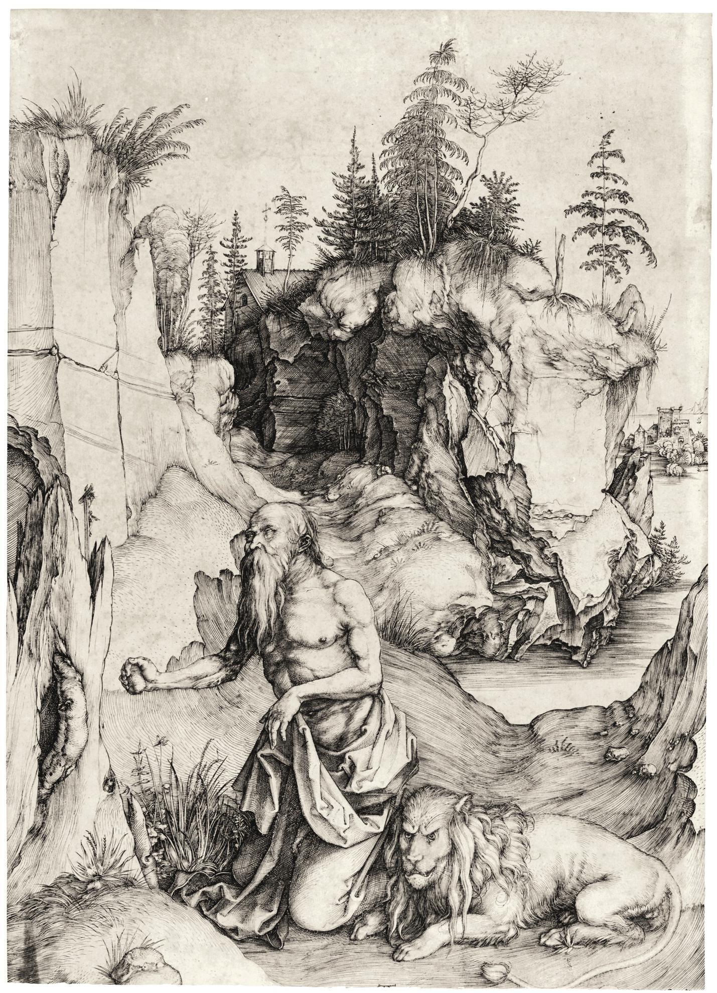 Albrecht Durer-St. Jerome In Penitence (Bartsch 61; Meder, Hollstein 57)-1496