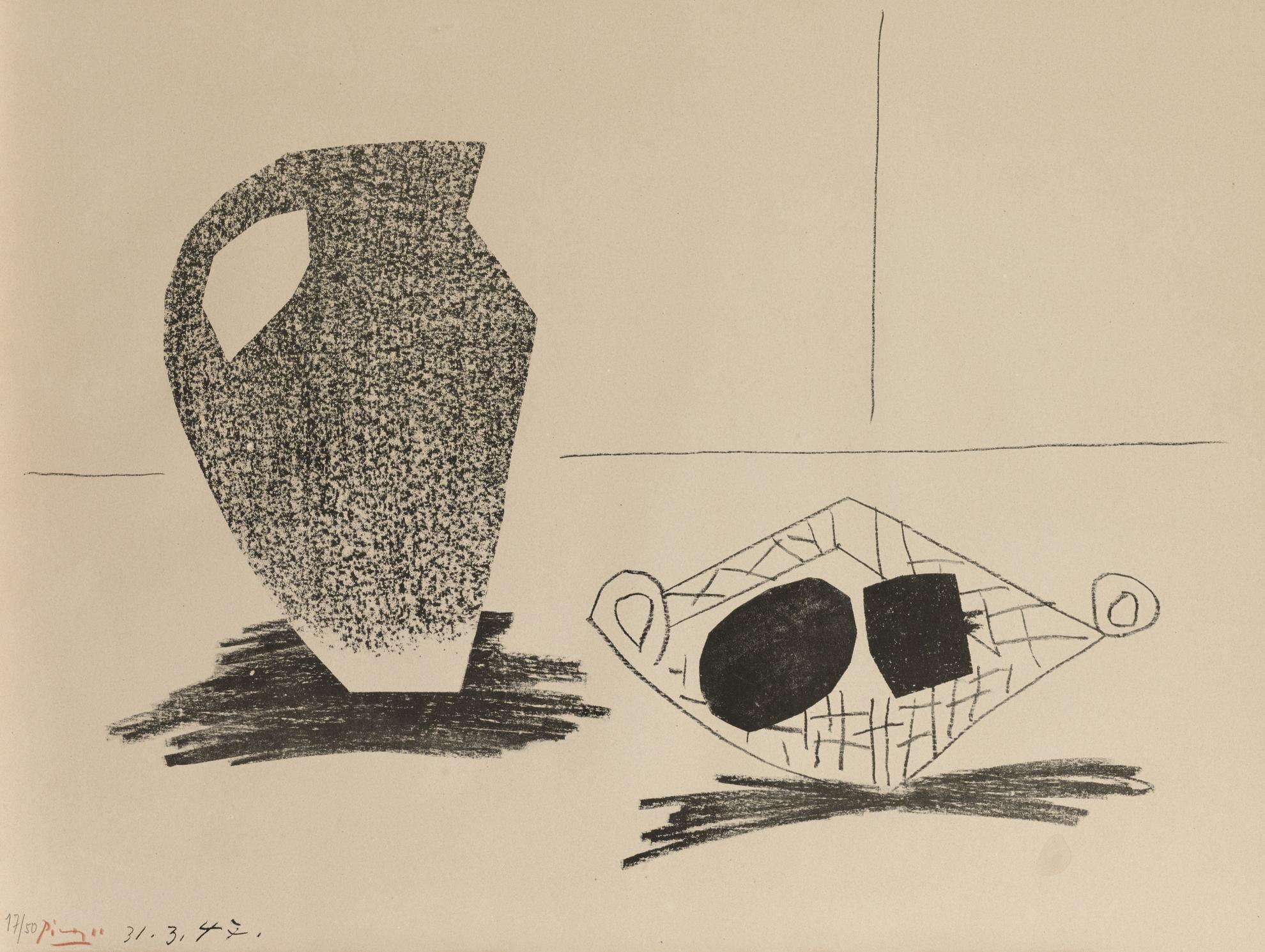 Pablo Picasso-Nature Morte Au Pot De Gres (B. 443; M., Pp. 86)-1947