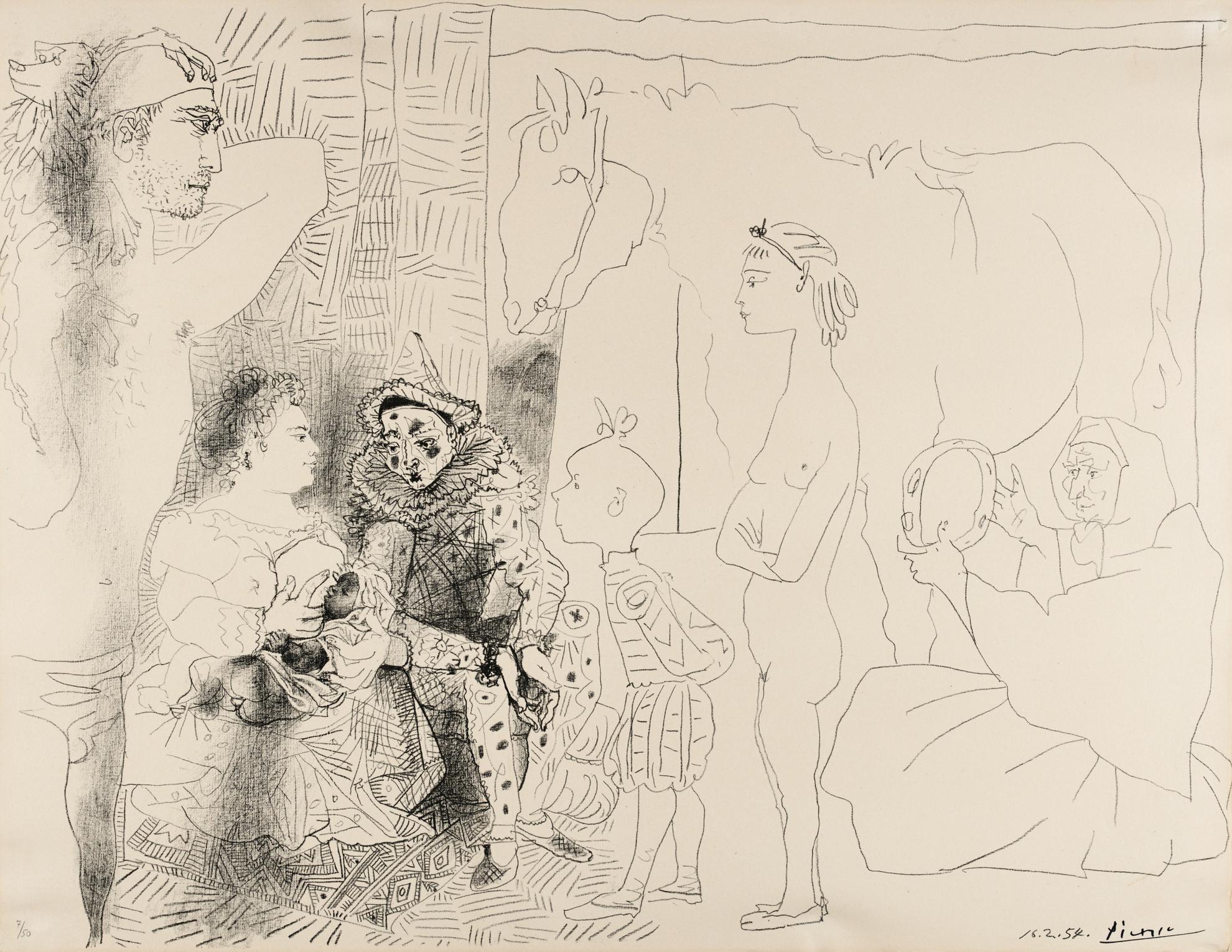 Pablo Picasso-La Famille Du Saltimbanque (B. 753; M., Pp. 249)-1954
