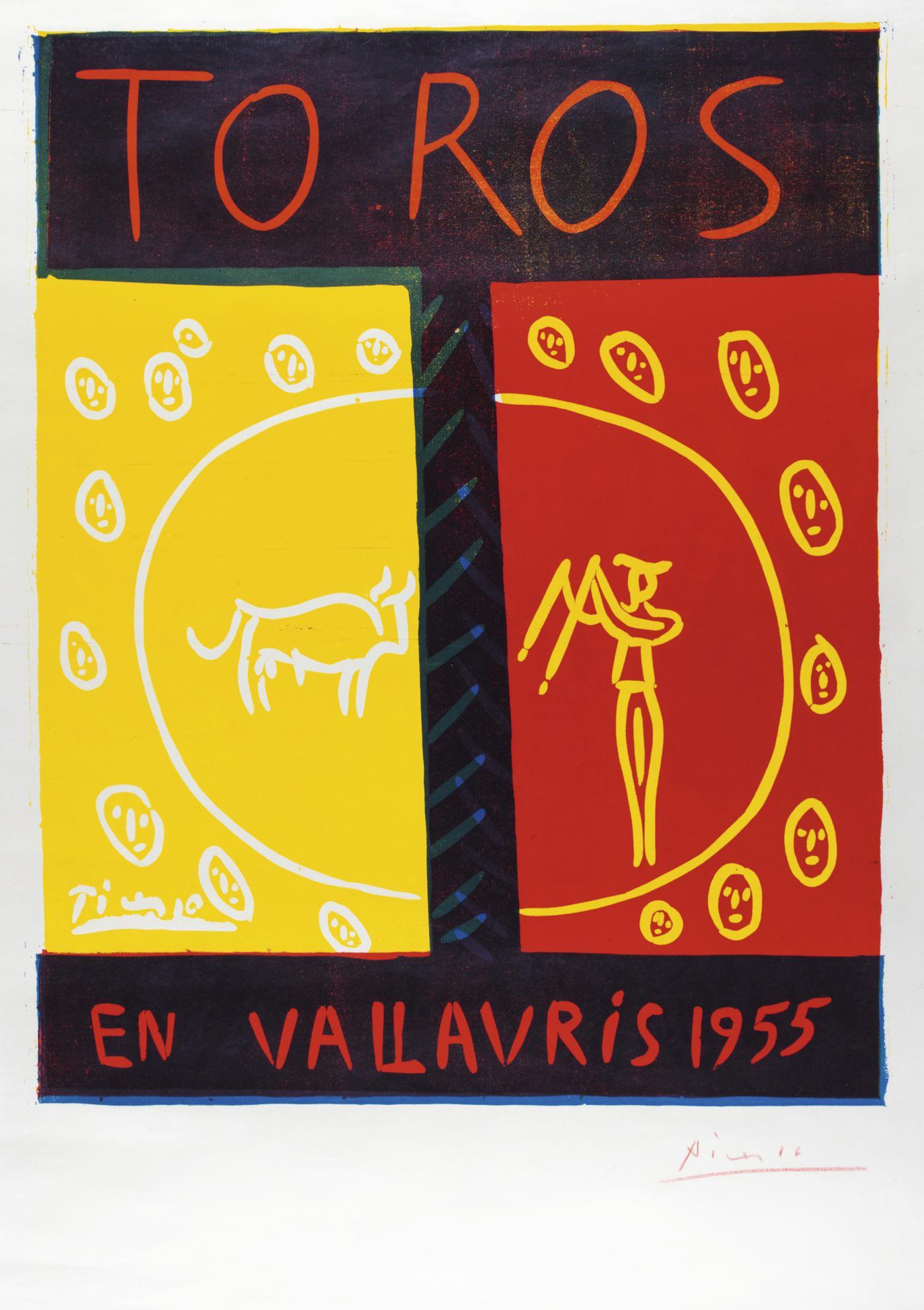 Pablo Picasso-Toros En Vallauris 1955 (B. 1265; Ba. 1029; Pp. L-8; Czw. 14)-1955