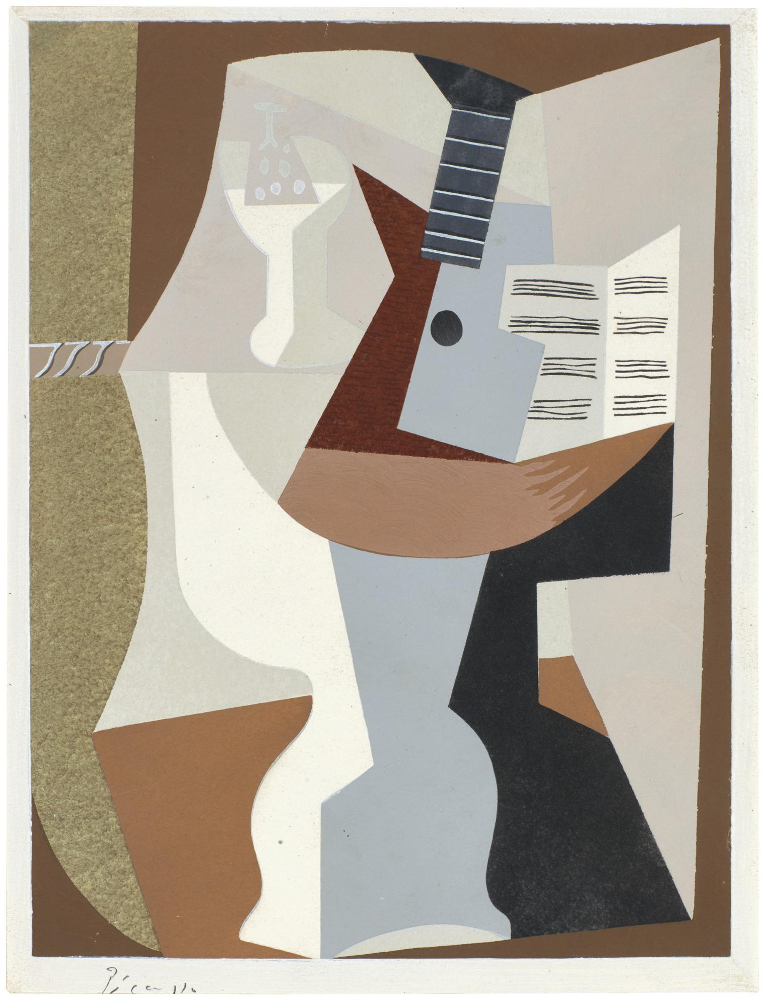 After Pablo Picasso - Gueridon Avec Guitare Et Partition (See Zervos 82)-1920