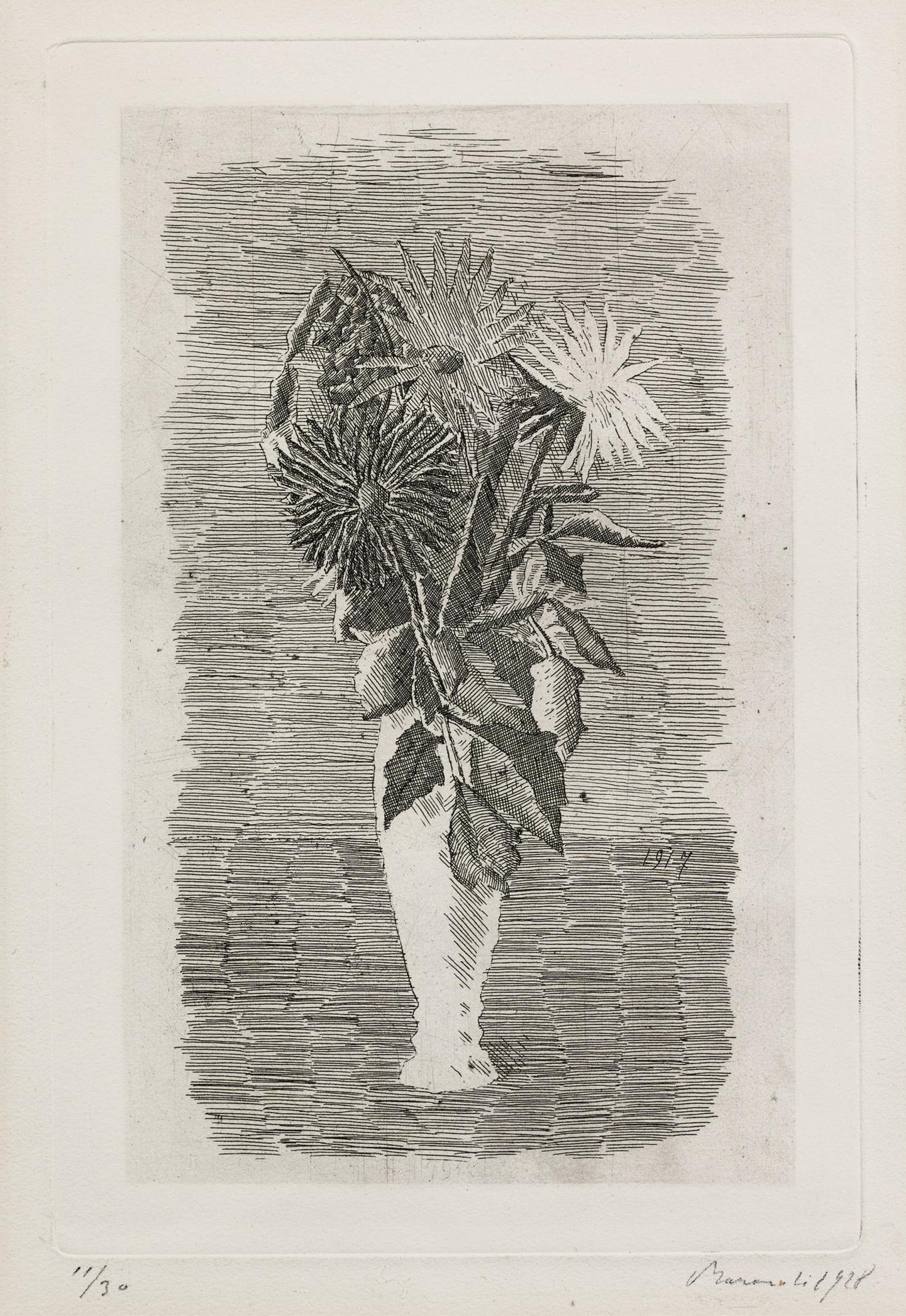Giorgio Morandi-Fiori In Un Vasetto Bianco (V. 51)-1928
