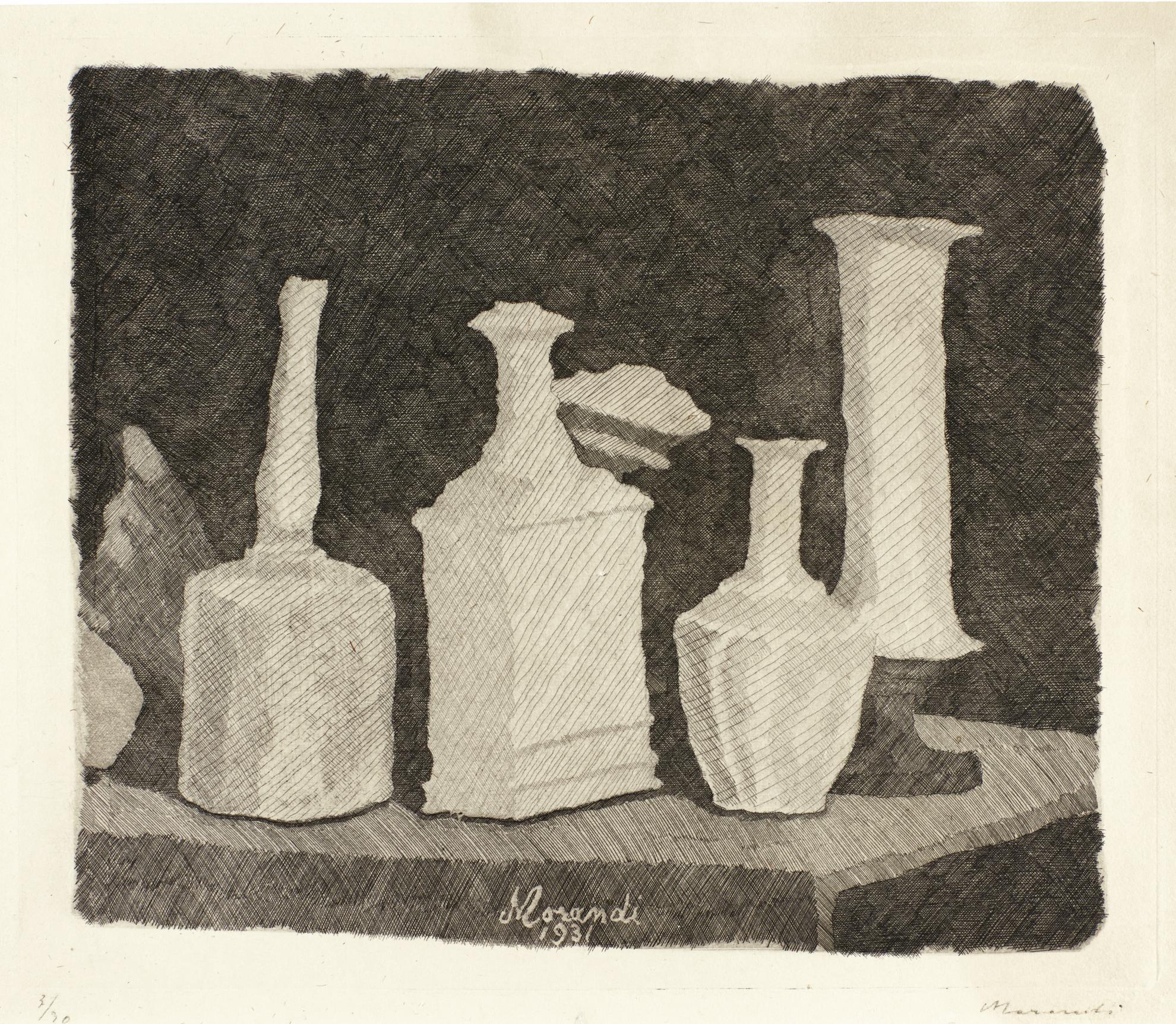 Giorgio Morandi-Natura Morta Con Oggetti Bianchi Su Fondo Scuro (V. 82)-1931