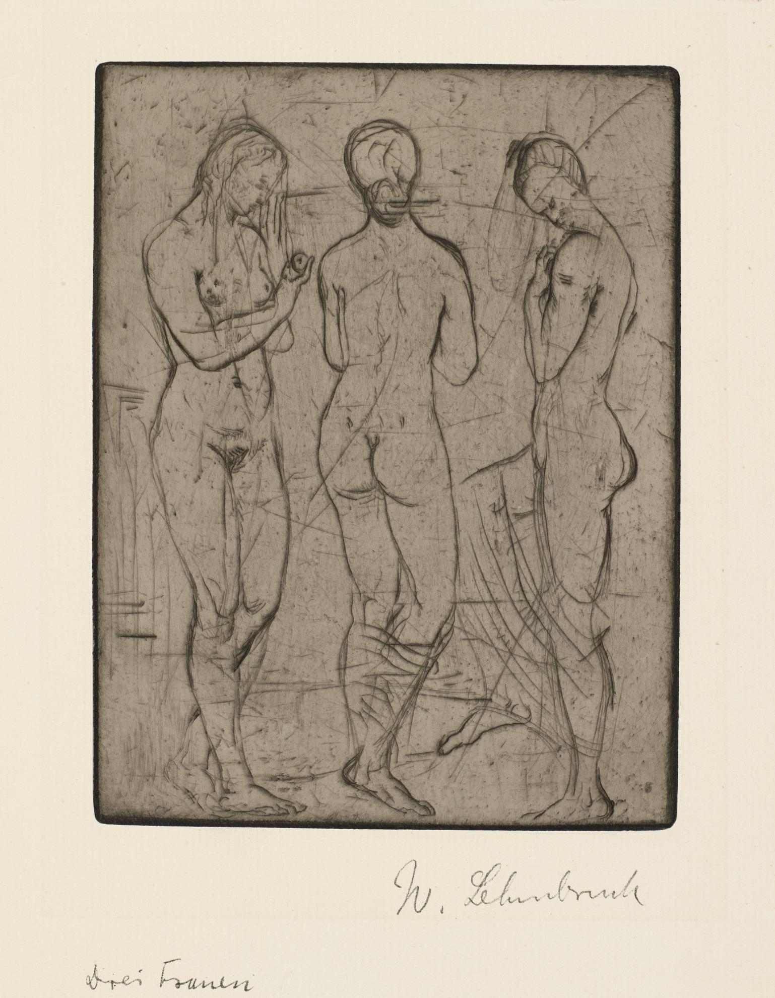 Wilhelm Lehmbruck-Drei Frauen, Stehend (Petermann 22)-1912