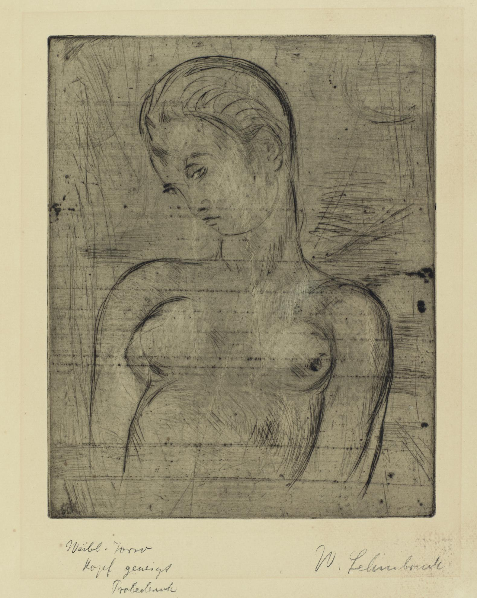 Wilhelm Lehmbruck-Weiblicher Torso, Kopf Geneigt (P. 27)-1912