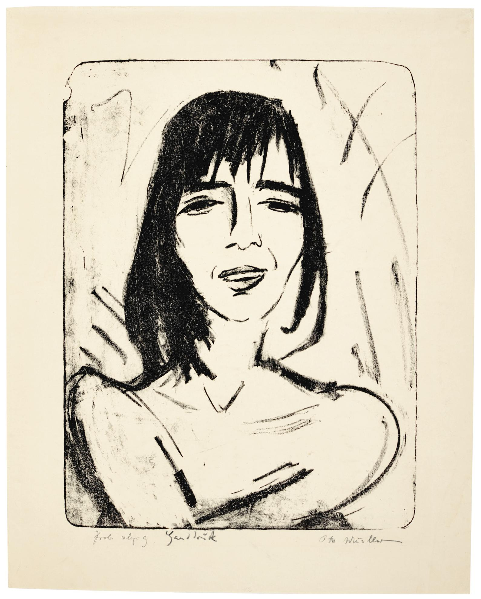 Otto Mueller-Brustbild Maschka 2 (Ophelia) (Karsch 27)-1916
