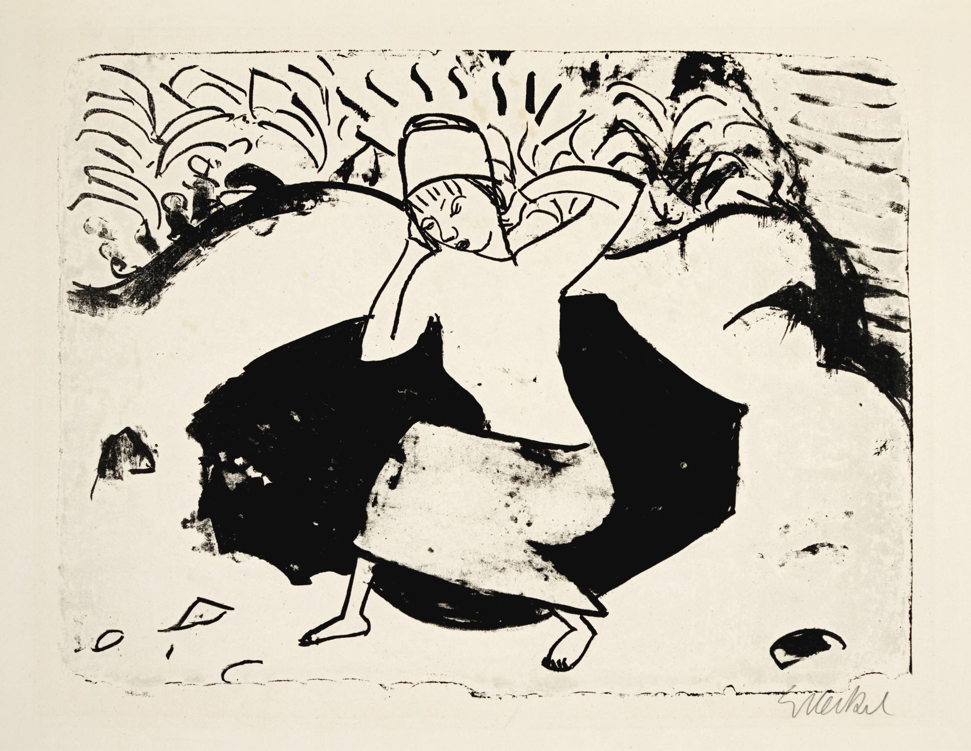 Erich Heckel-Blaues Kleid (D. L179)-1912
