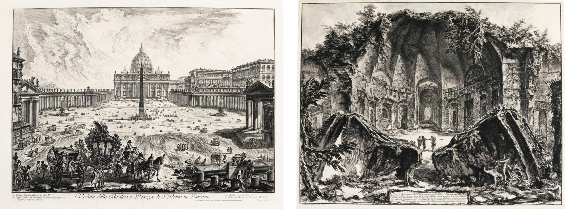 Giovanni Battista Piranesi-St. Peters, With Forecourt And Colonnades Fountain In Foreground; And Hadrians Villa: The Canopus (Hind 3, 90)-1768