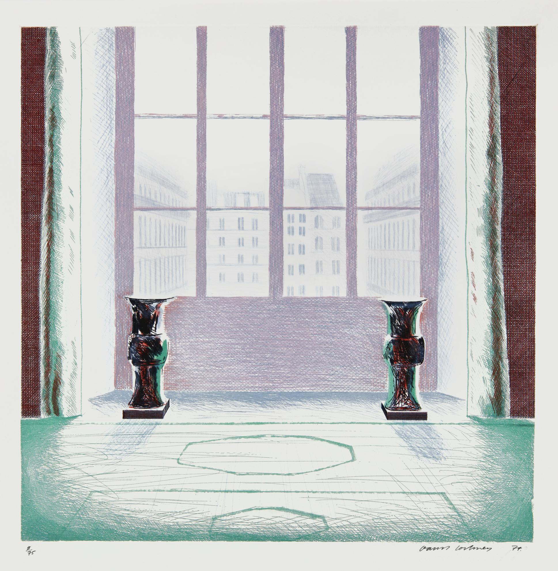 David Hockney-Two Vases In The Louvre (Scottish Arts Council 168; Mca Tokyo 154)-1974