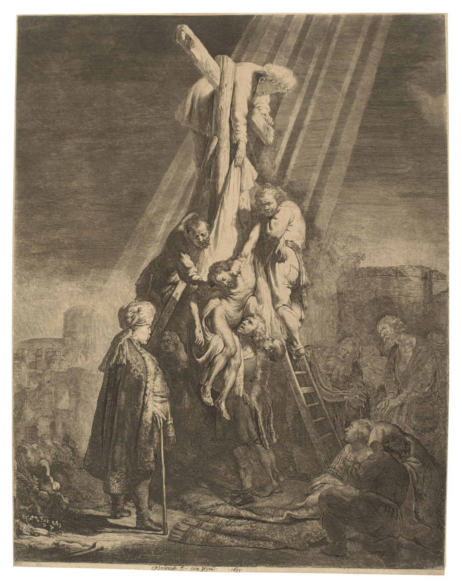 Rembrandt van Rijn-The Descent From The Cross: Second Plate (B., Holl. 81; New Holl. 119; H. 103)-1633